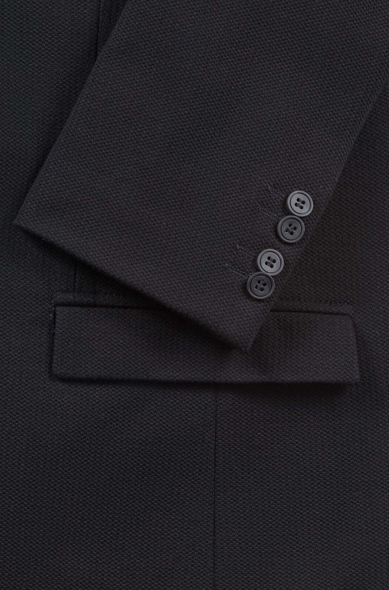 Blazer Slim Fit en jersey stretch à la structure 3D, Noir