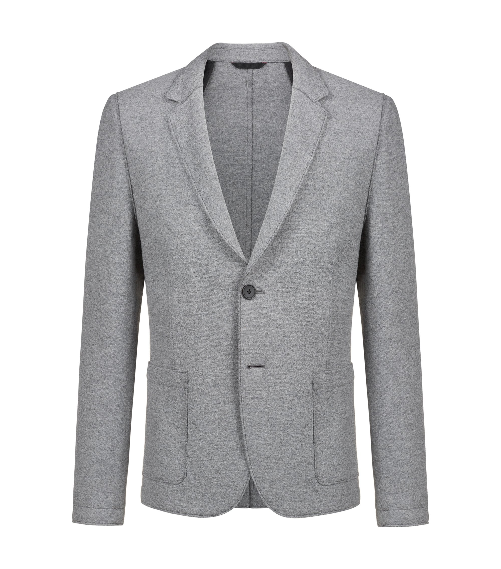 Extra-slim-fit jersey blazer with raw-edge finishing, Grey