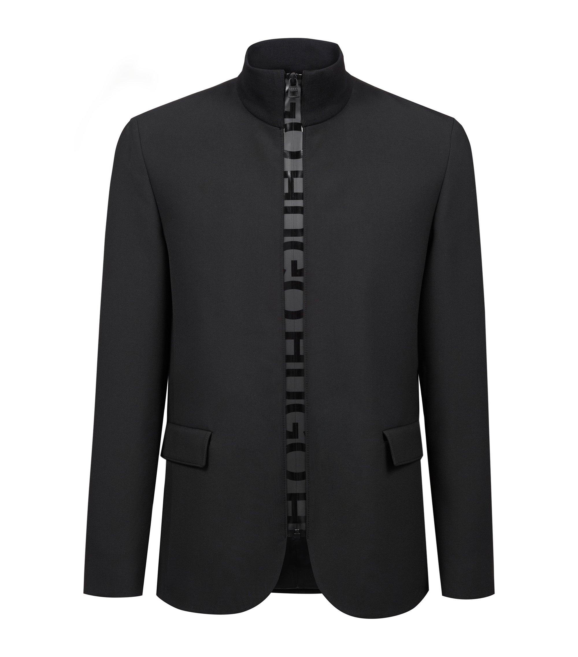 Blazer met ritssluiting en logobiesdetail, Zwart