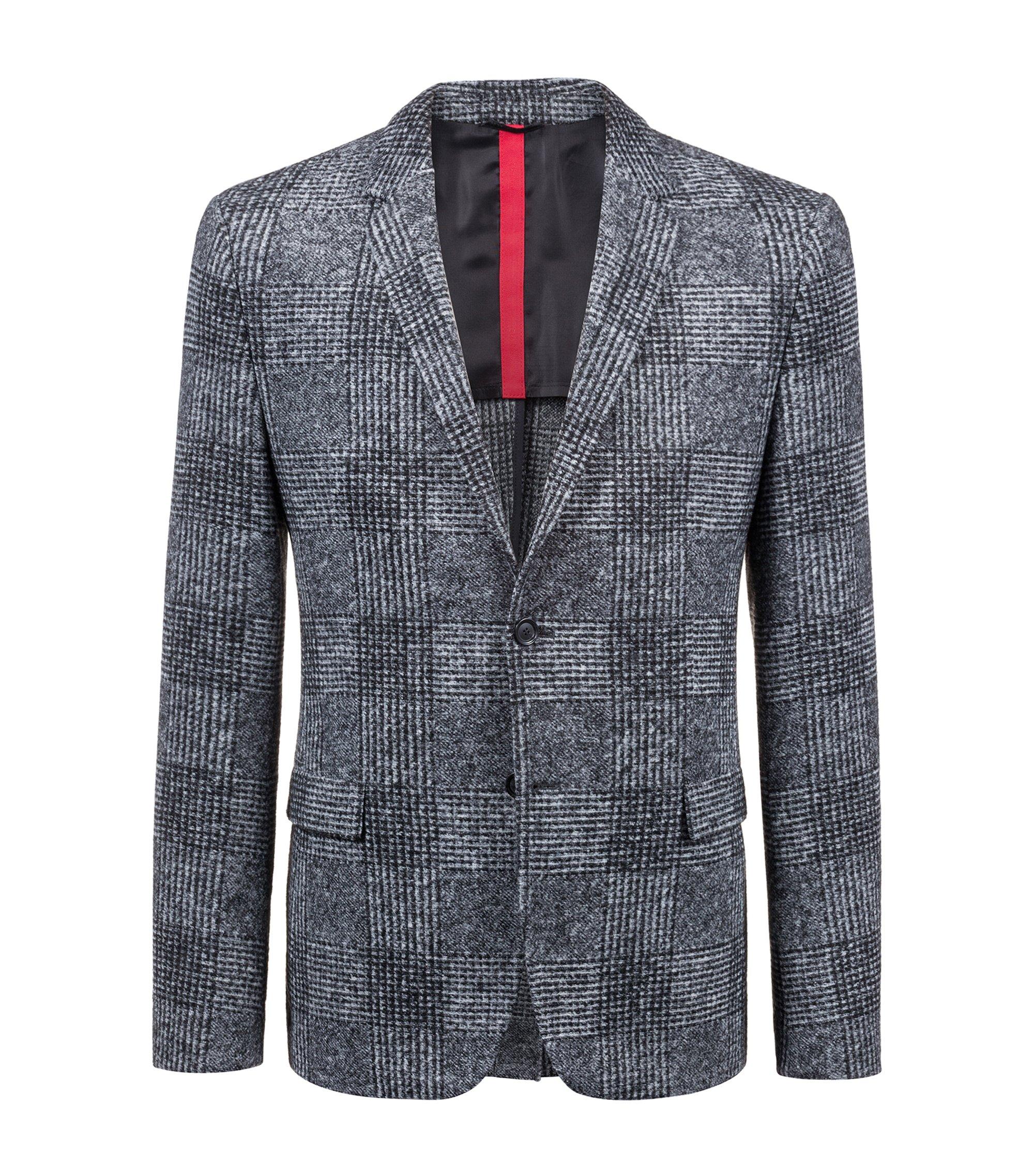 Slim-fit blazer met oversized prince-of-wales-ruitdessin, Antraciet