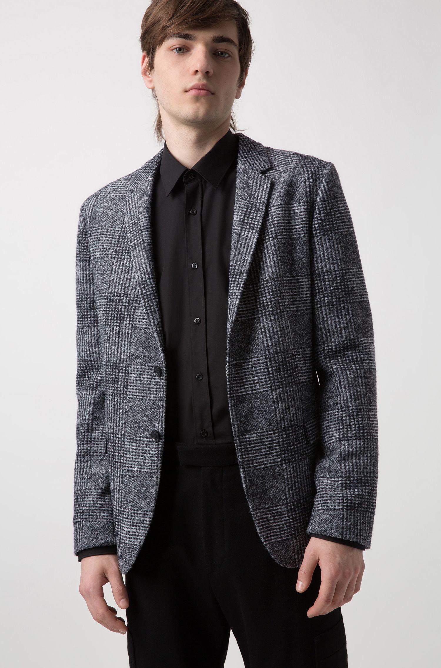 Blazer Slim Fit à motif prince-de-galles oversize, Anthracite