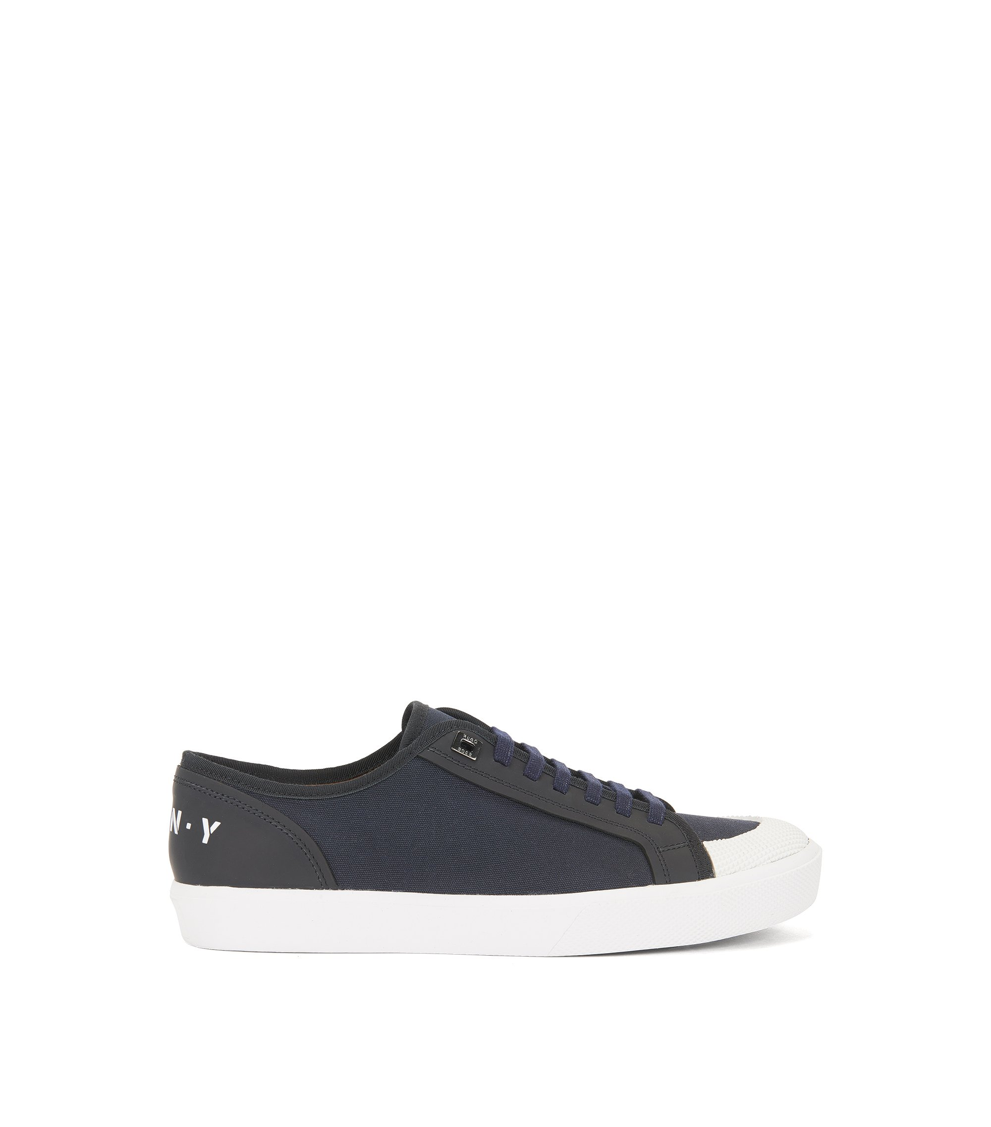 Runway Edition low-top trainers in cotton and leather, Dark Blue