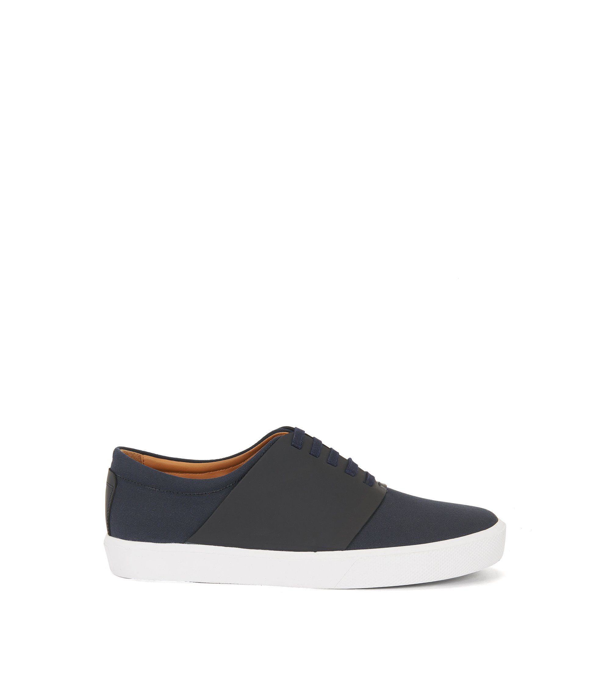 Tennis-style trainers in cotton with leather trims, Dark Blue