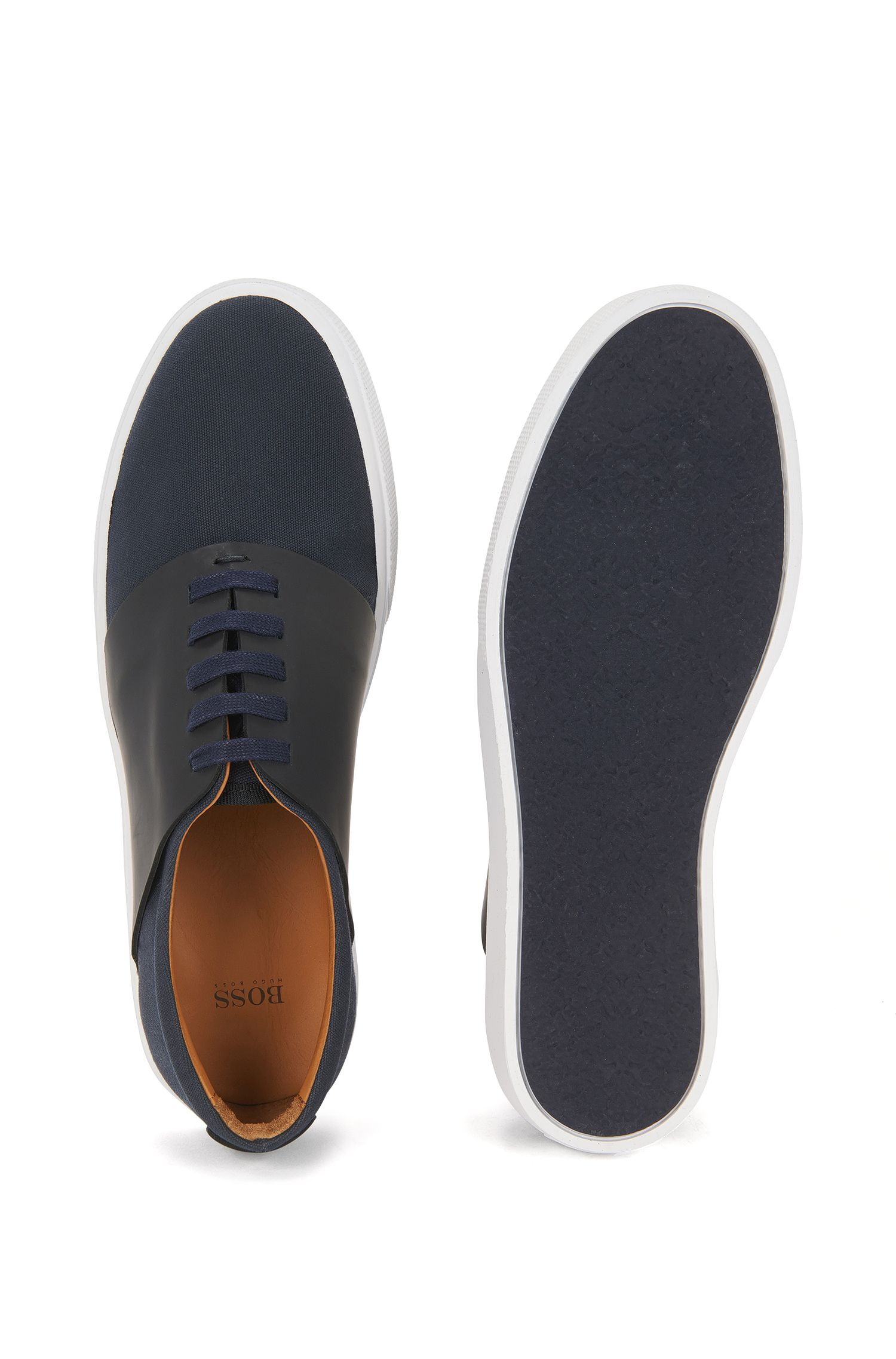 Tennis-style trainers in cotton with leather trims