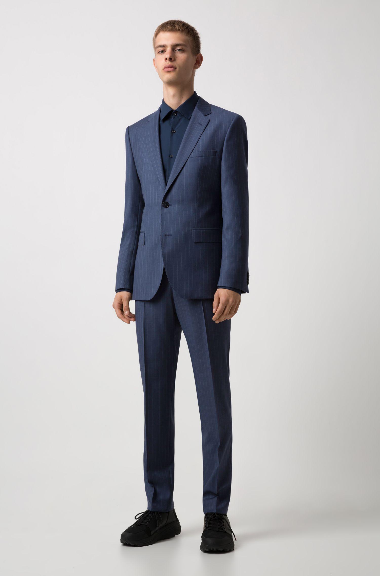 Regular-fit kostuum van gestreepte scheerwol, Blauw