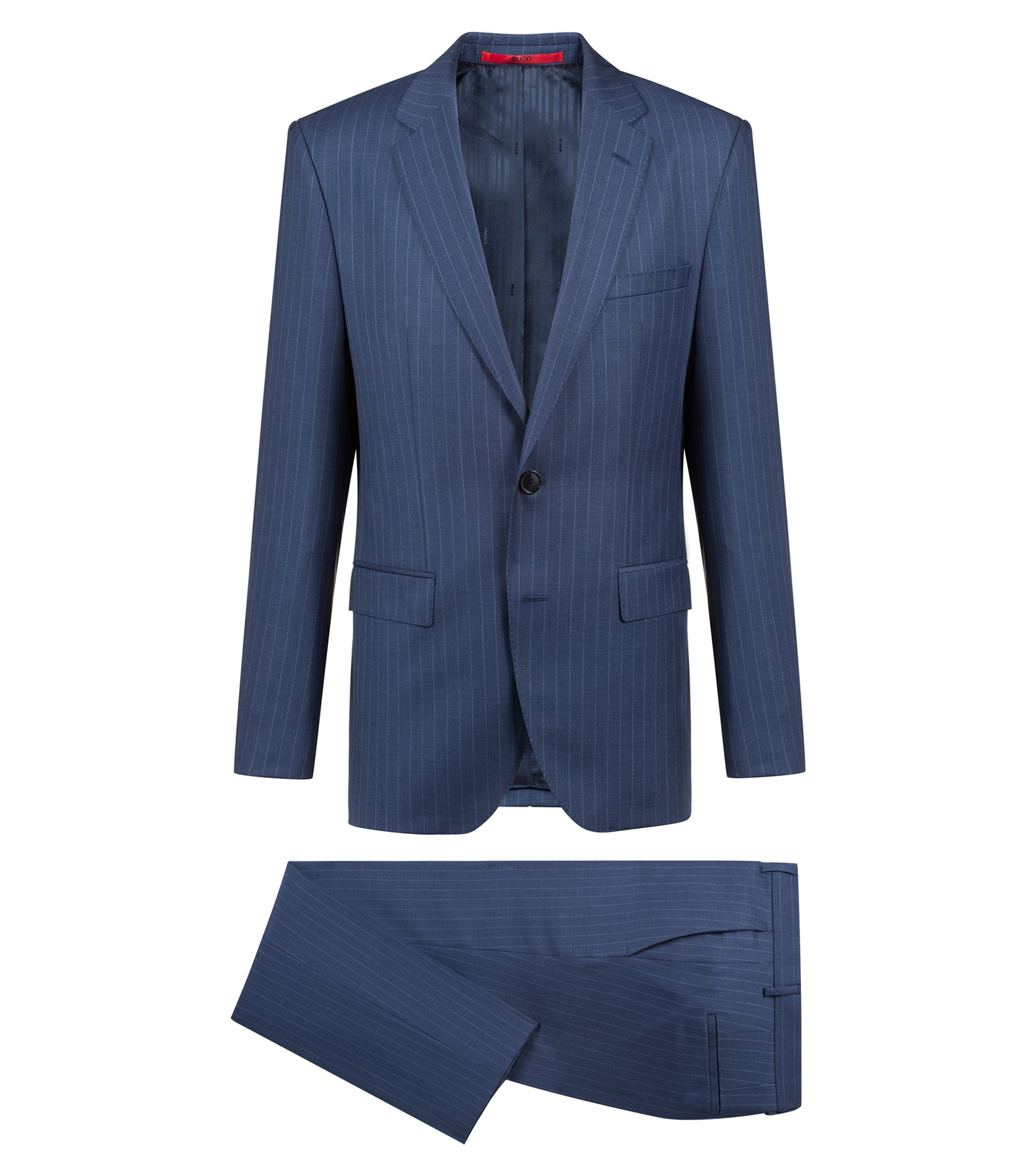 Regular-fit suit in striped virgin wool, Blue