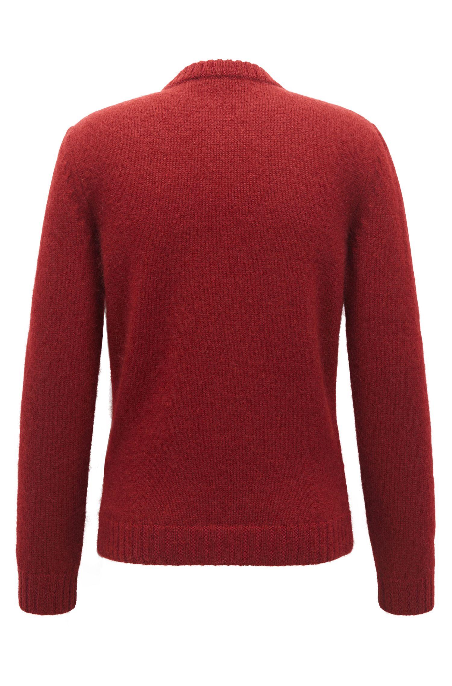 Maglione a girocollo a più lavorazioni realizzato in Germania, Rosso scuro