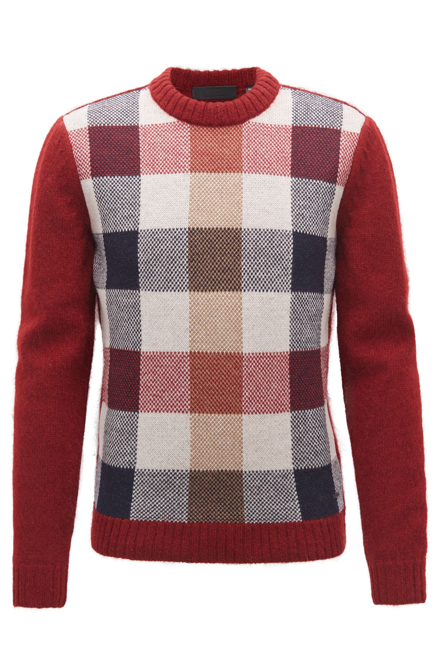 Made in Germany multi-textured crew-neck sweater, Dark Red