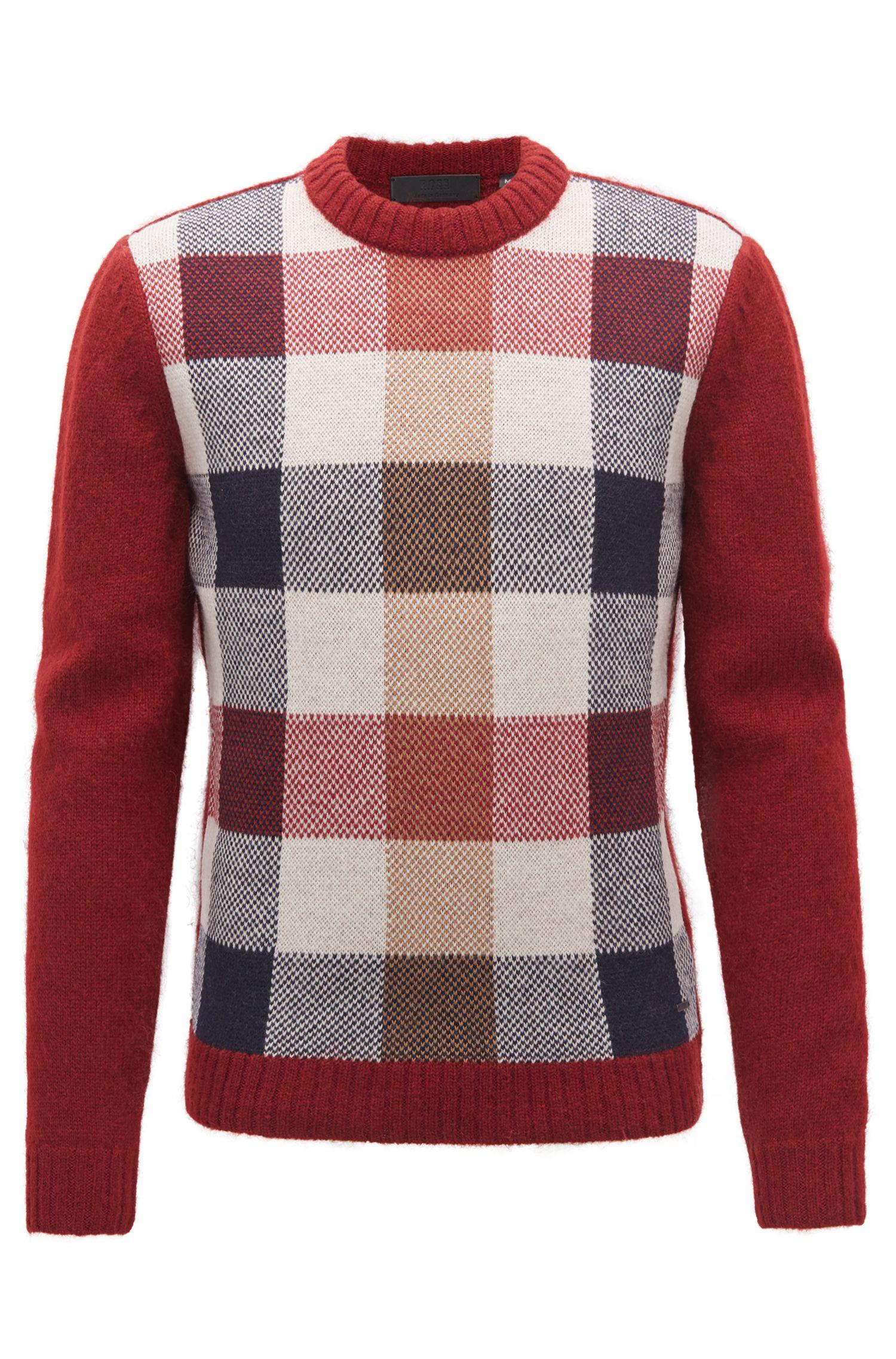 Jersey de cuello redondo con varias texturas fabricado en Alemania, Rojo oscuro