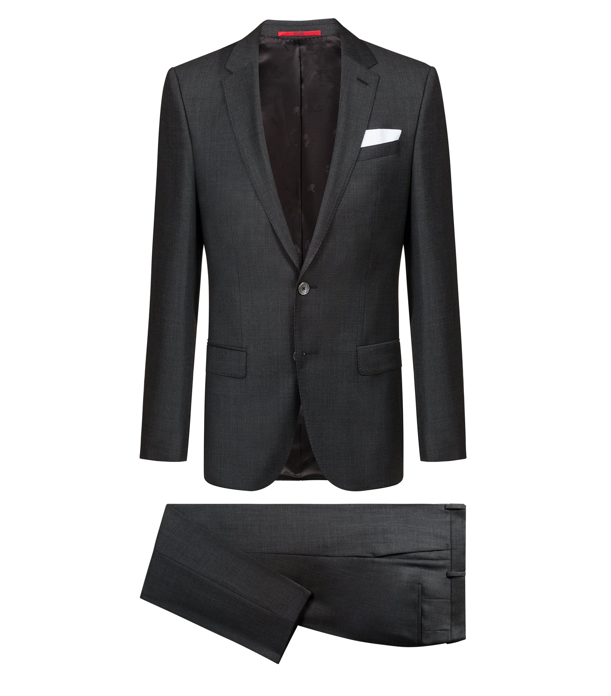 Slim-fit suit in patterned virgin wool serge, Anthracite