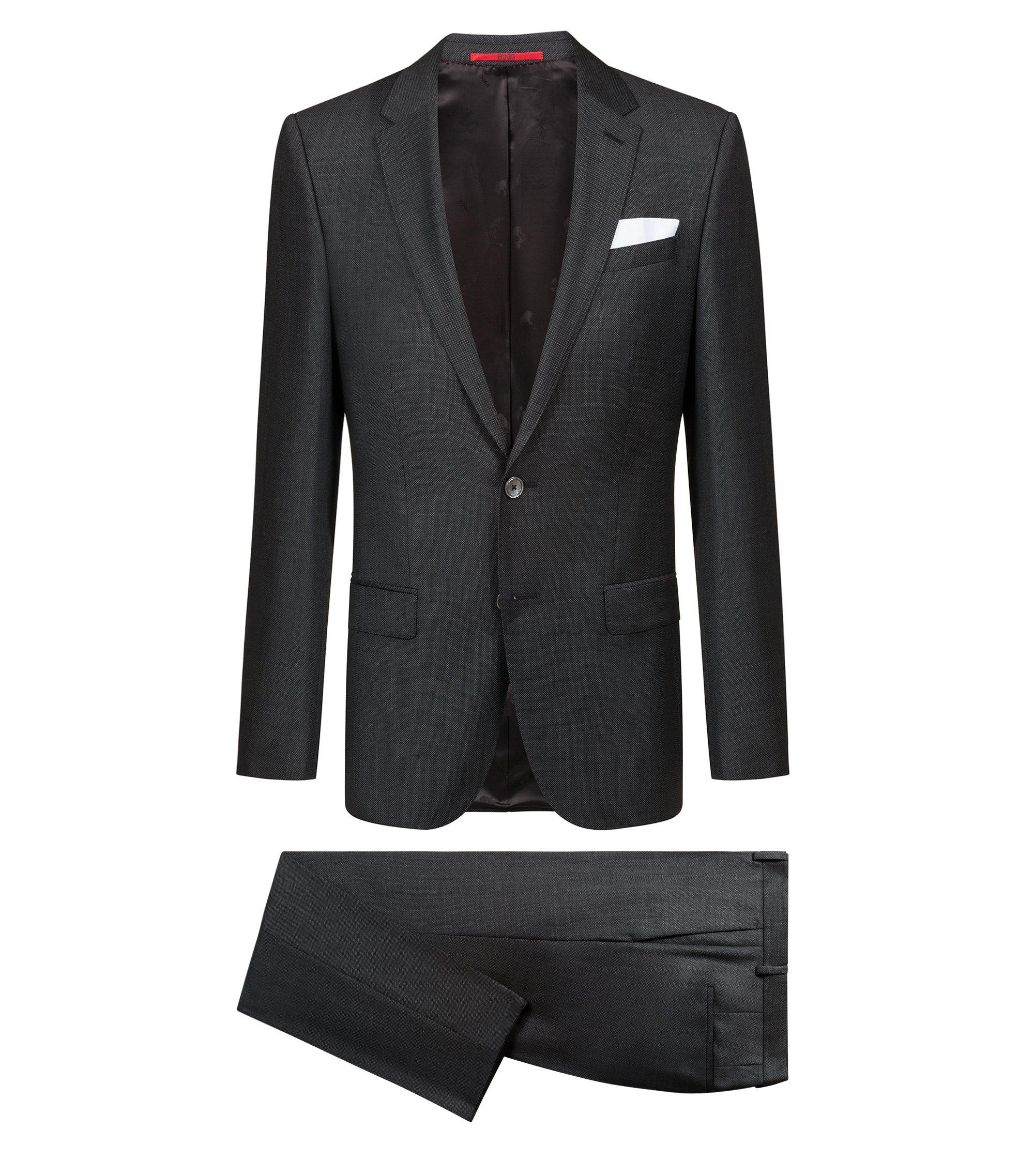 Gemusterter Slim-Fit Anzug aus Schurwoll-Serge, Anthrazit