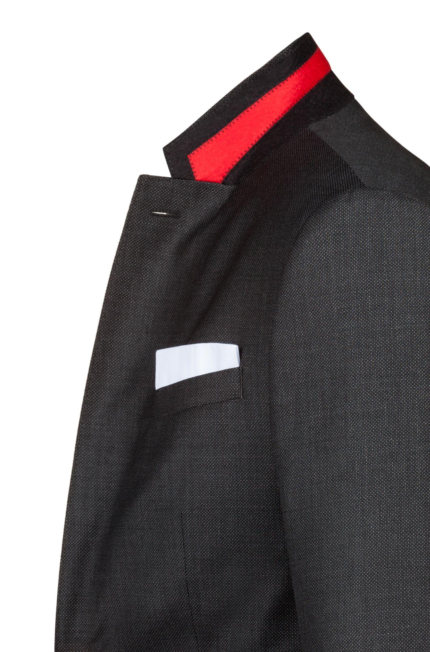 Costume Slim Fit en sergé de laine vierge à motif, Anthracite