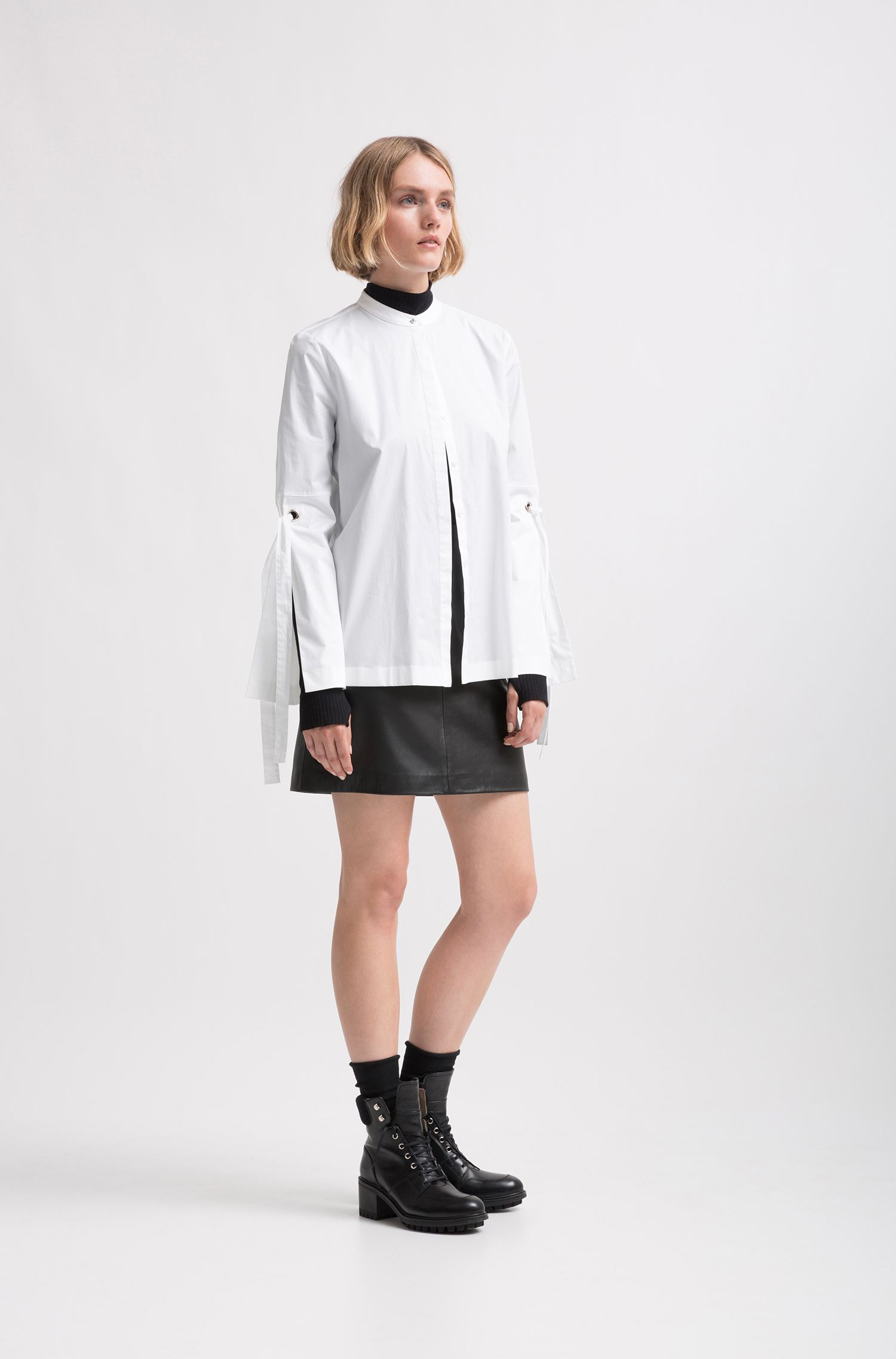 Relaxed-fit blouse van stretchkatoen met mouwen met strikdetail, Wit