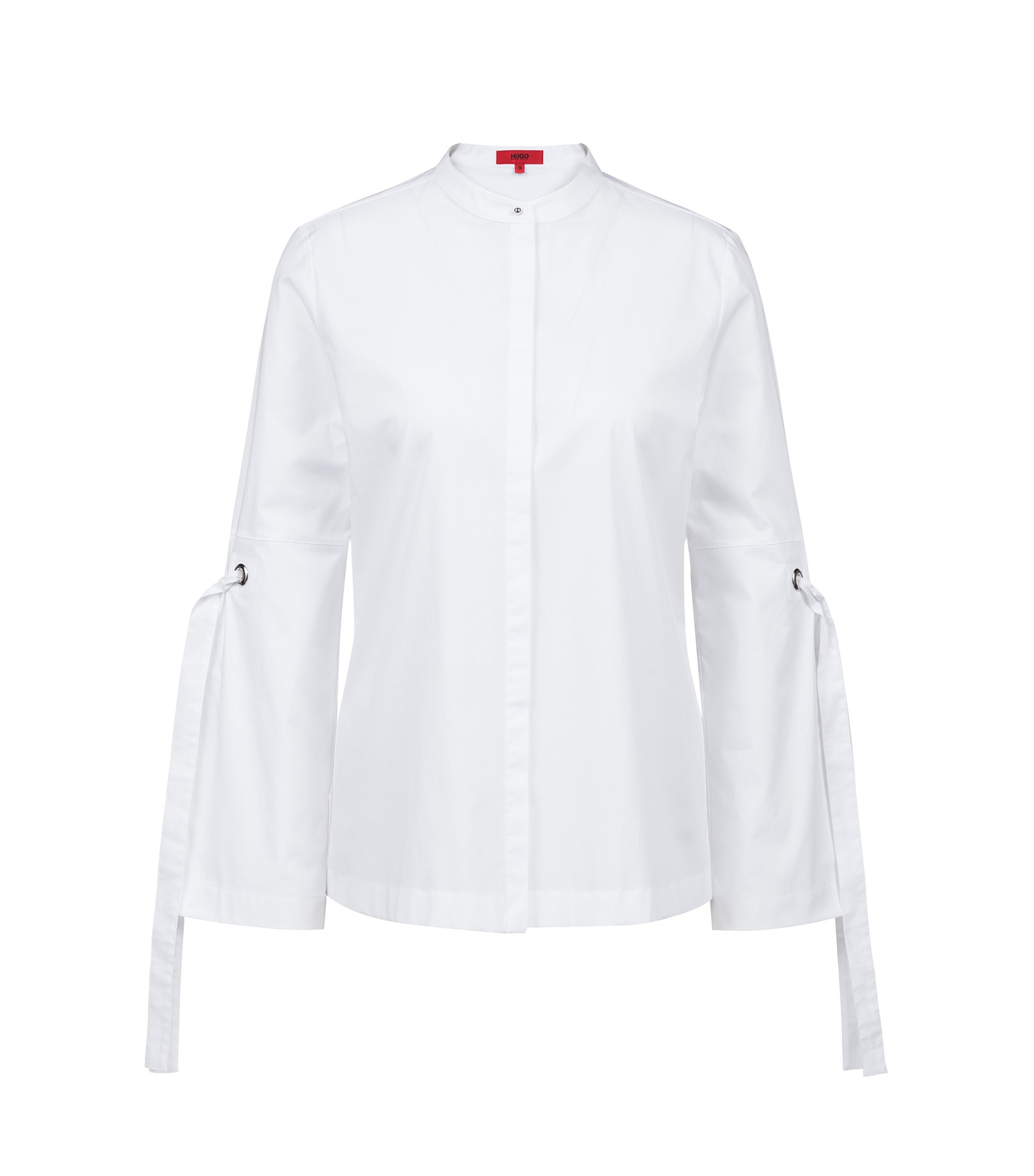 Relaxed-fit stretch-cotton blouse with tie-detail sleeves, White