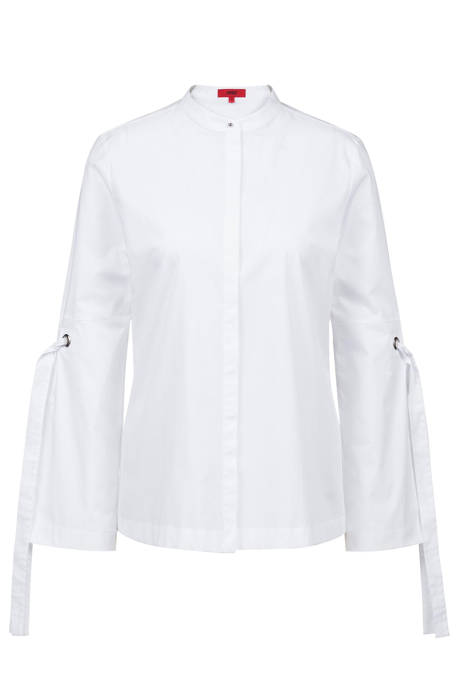 Relaxed-fit blouse van stretchkatoen met mouwen met strikdetail