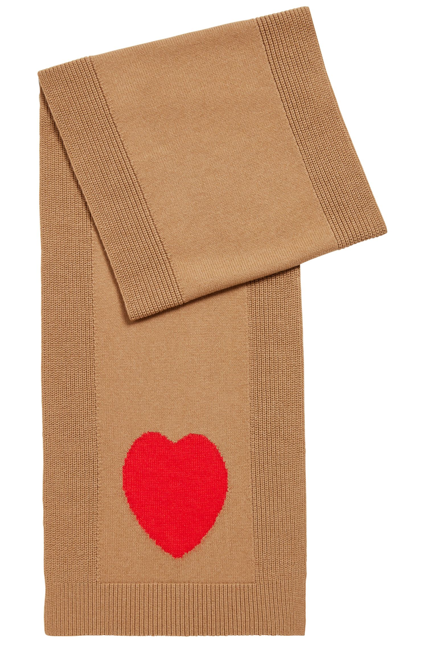 Multi-structured scarf with contrast heart, Light Brown