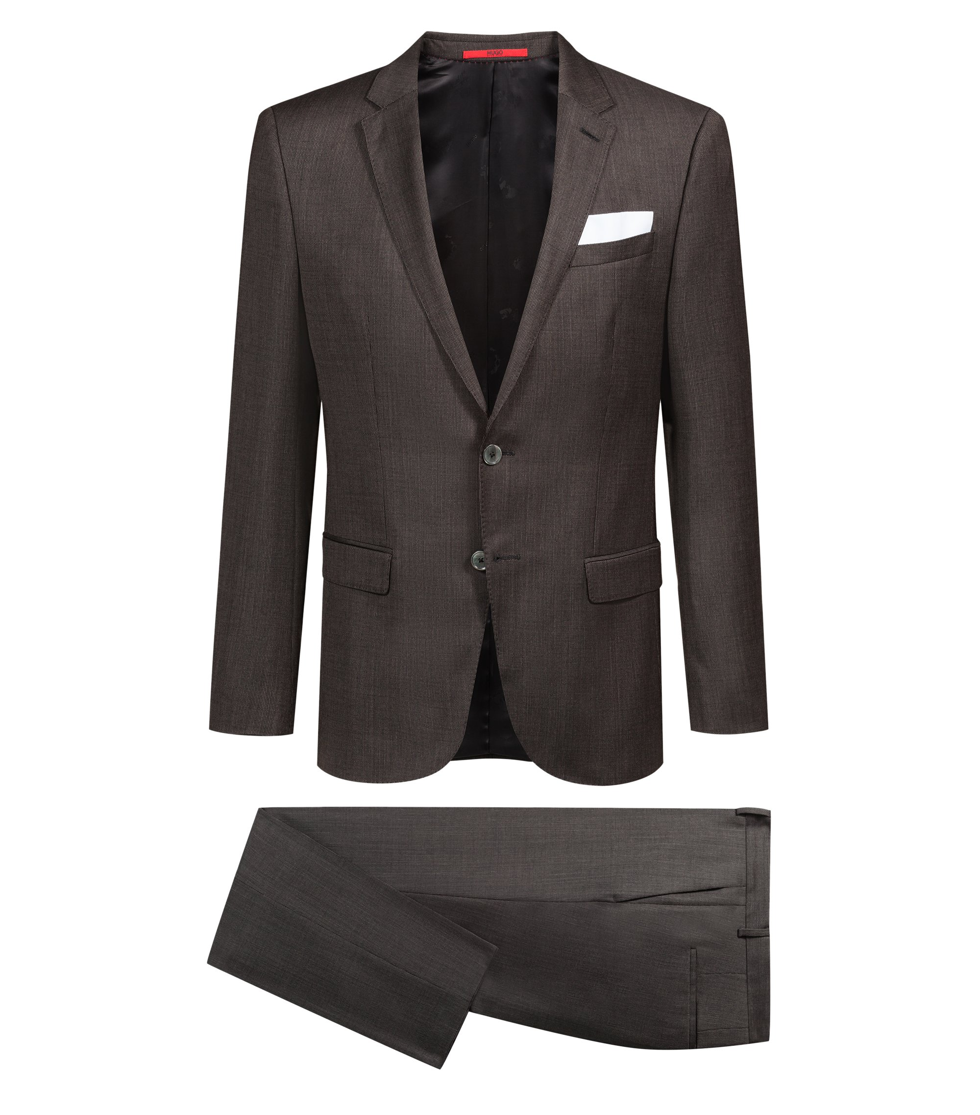 Slim-fit suit in patterned virgin wool , Brown