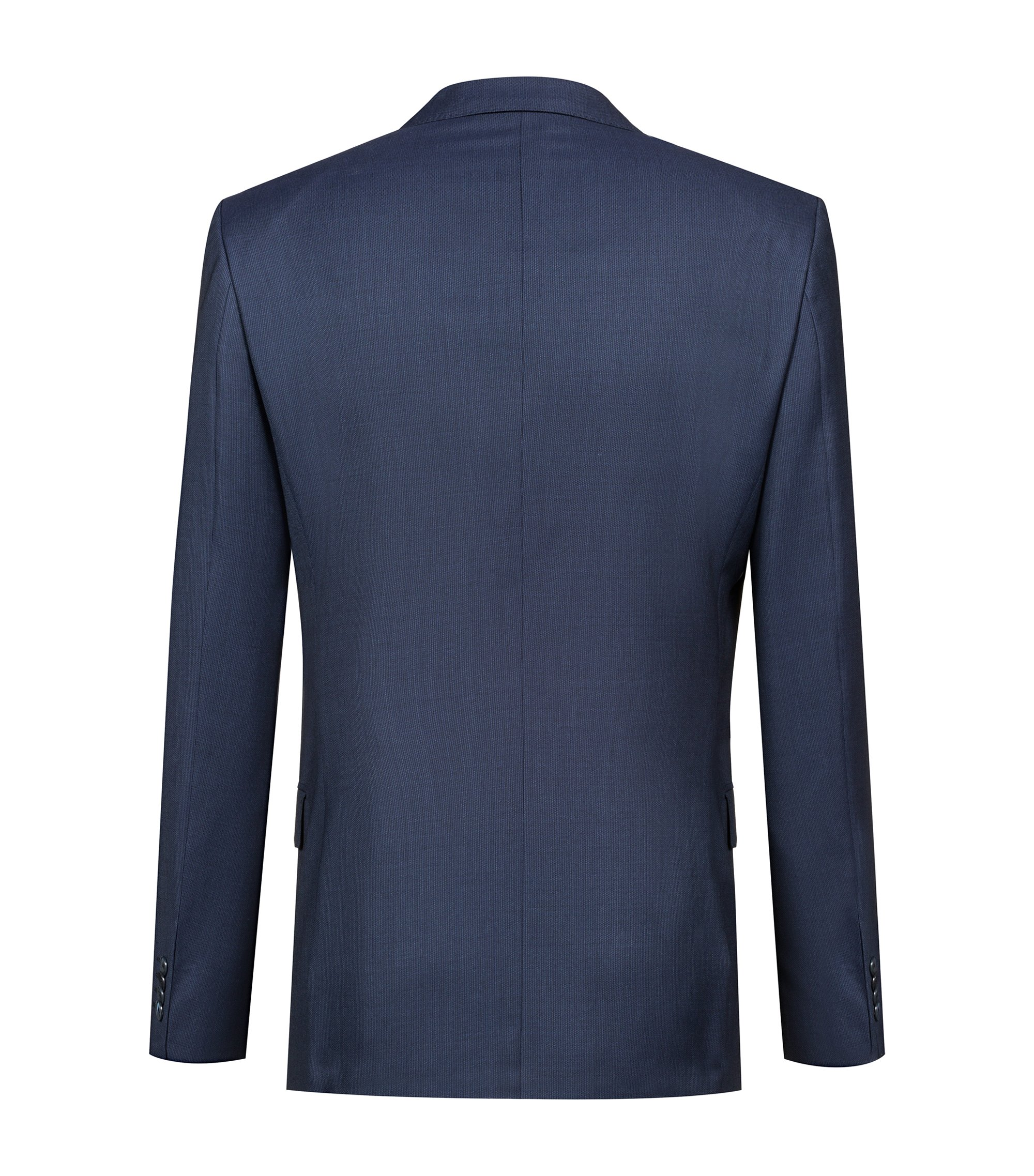 Slim-fit suit in patterned virgin wool , Blau