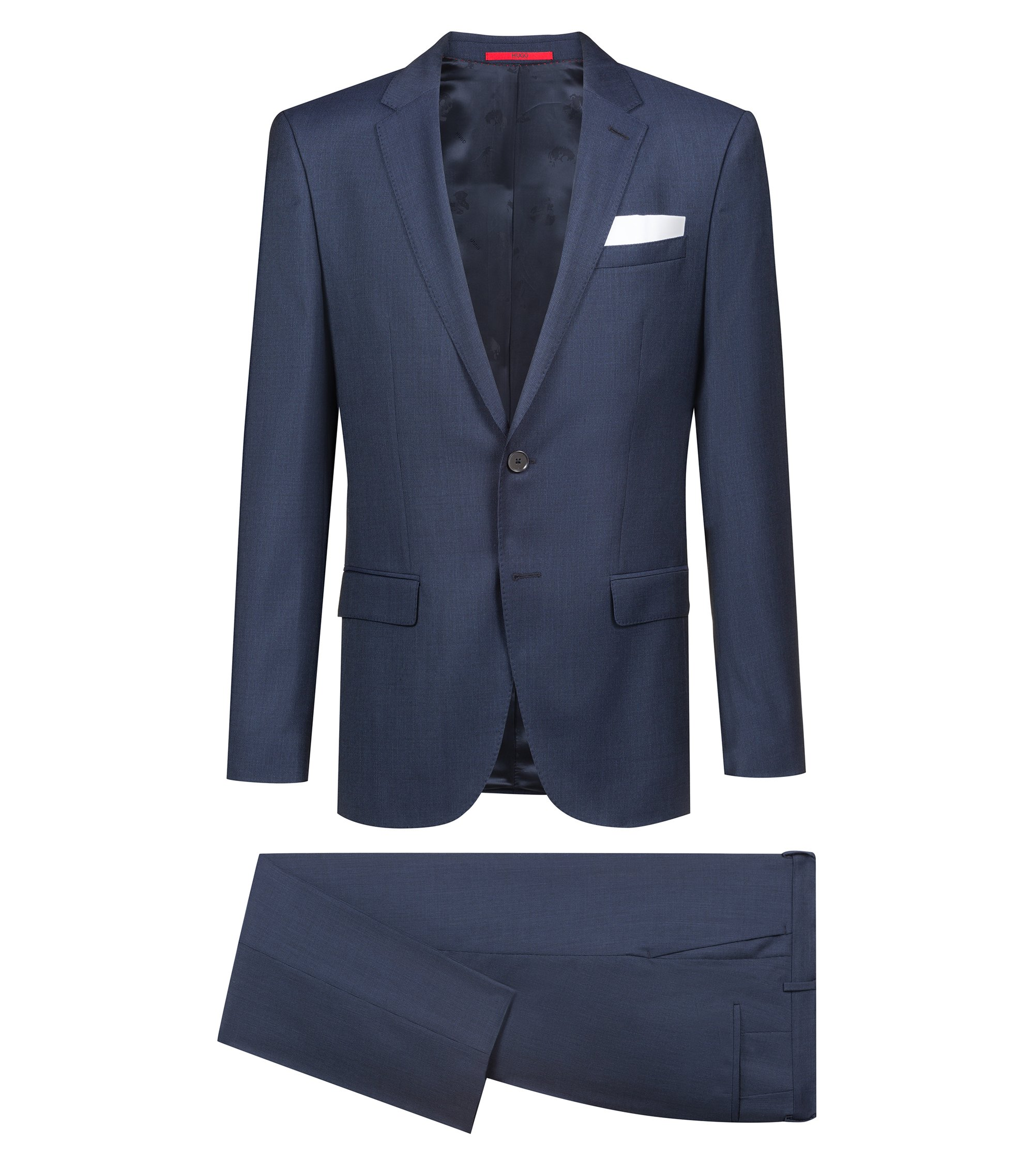 Slim-fit suit in patterned virgin wool , Blue