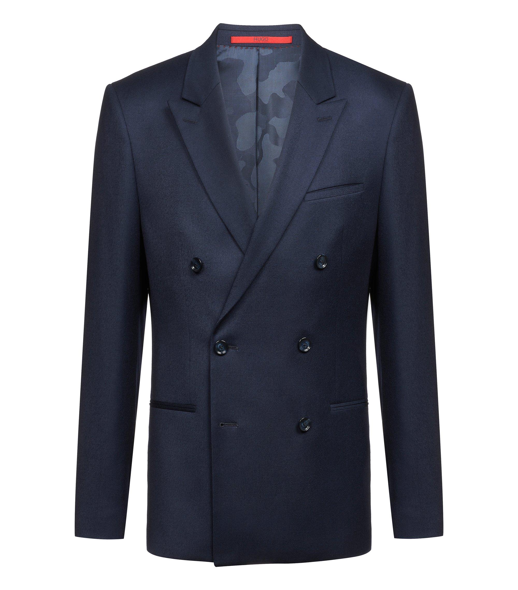 Slim-fit double-breasted jacket in stretch virgin wool, Dark Blue