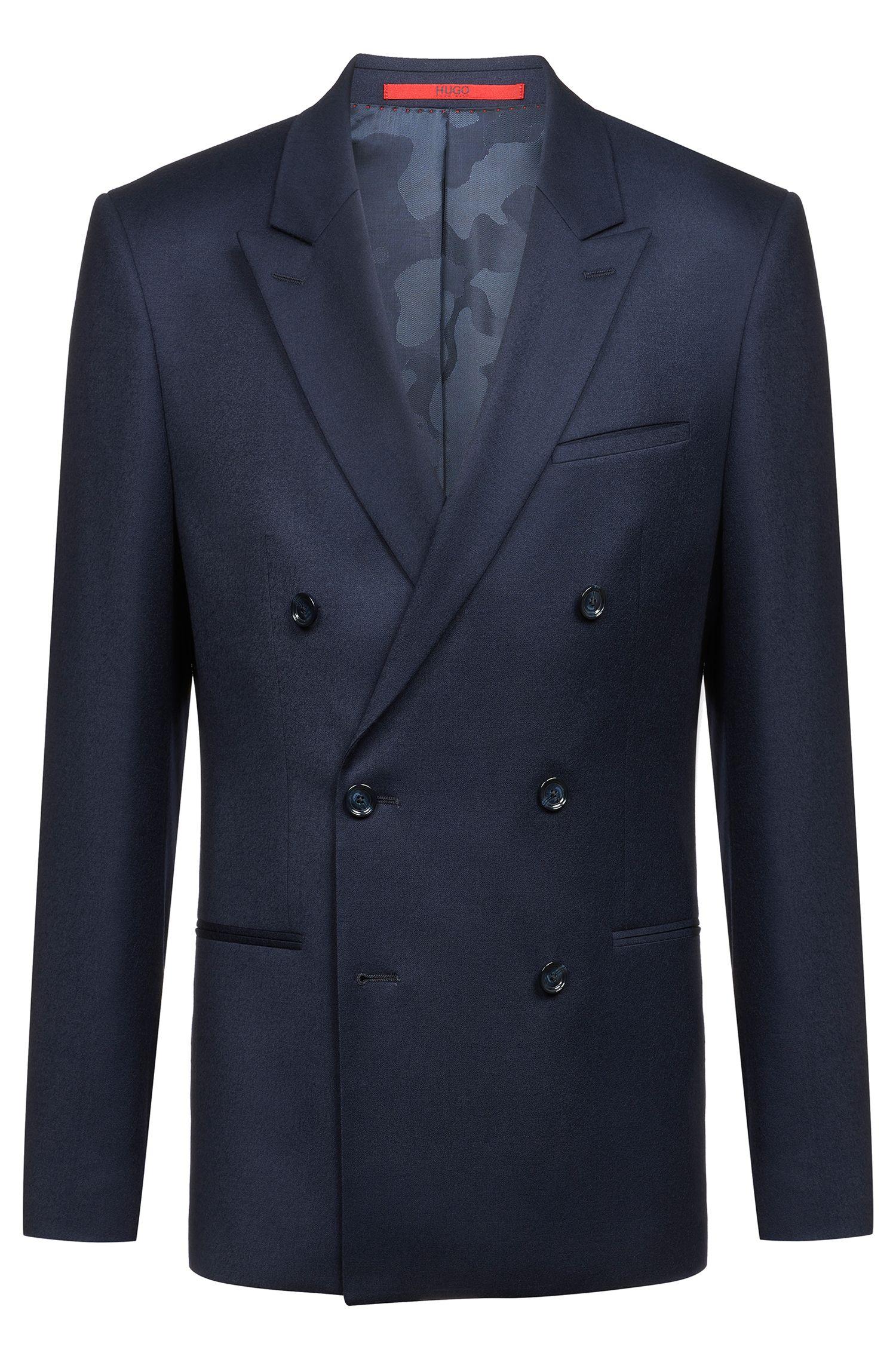 Chaqueta cruzada slim fit en lana virgen elástica, Azul oscuro