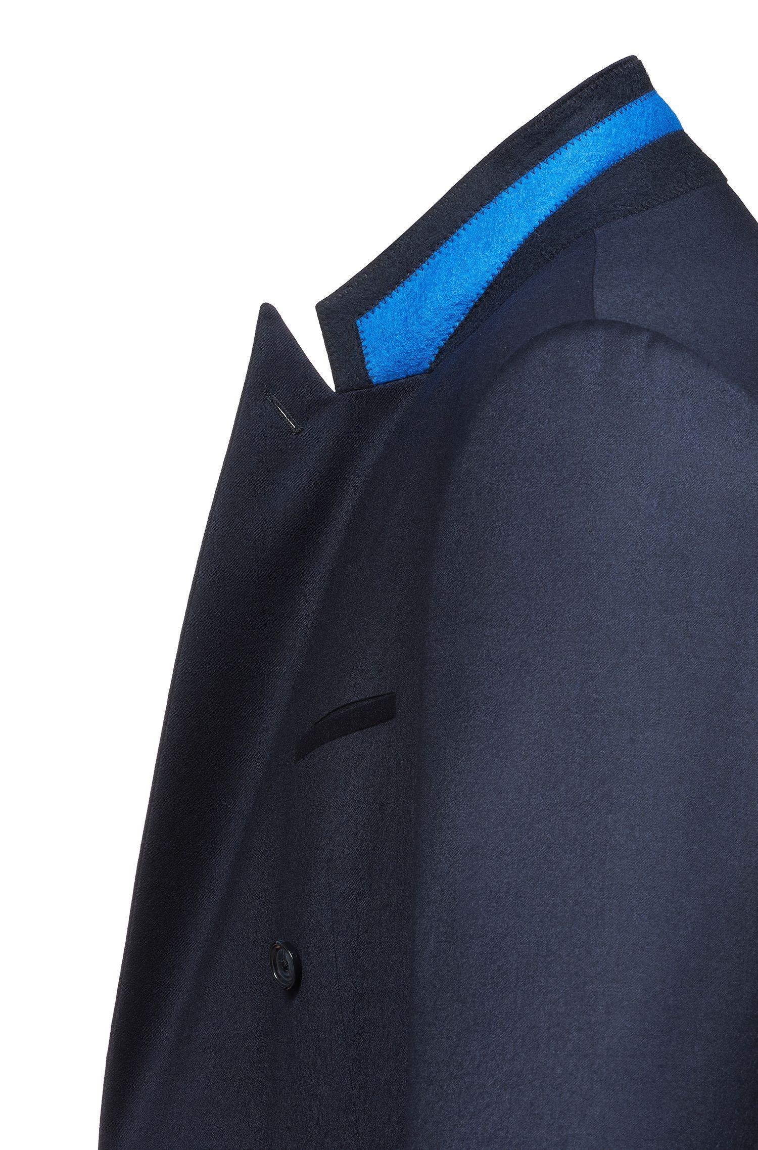 Zweireihiges Slim-FitSakko aus Stretch-Schurwolle, Dunkelblau