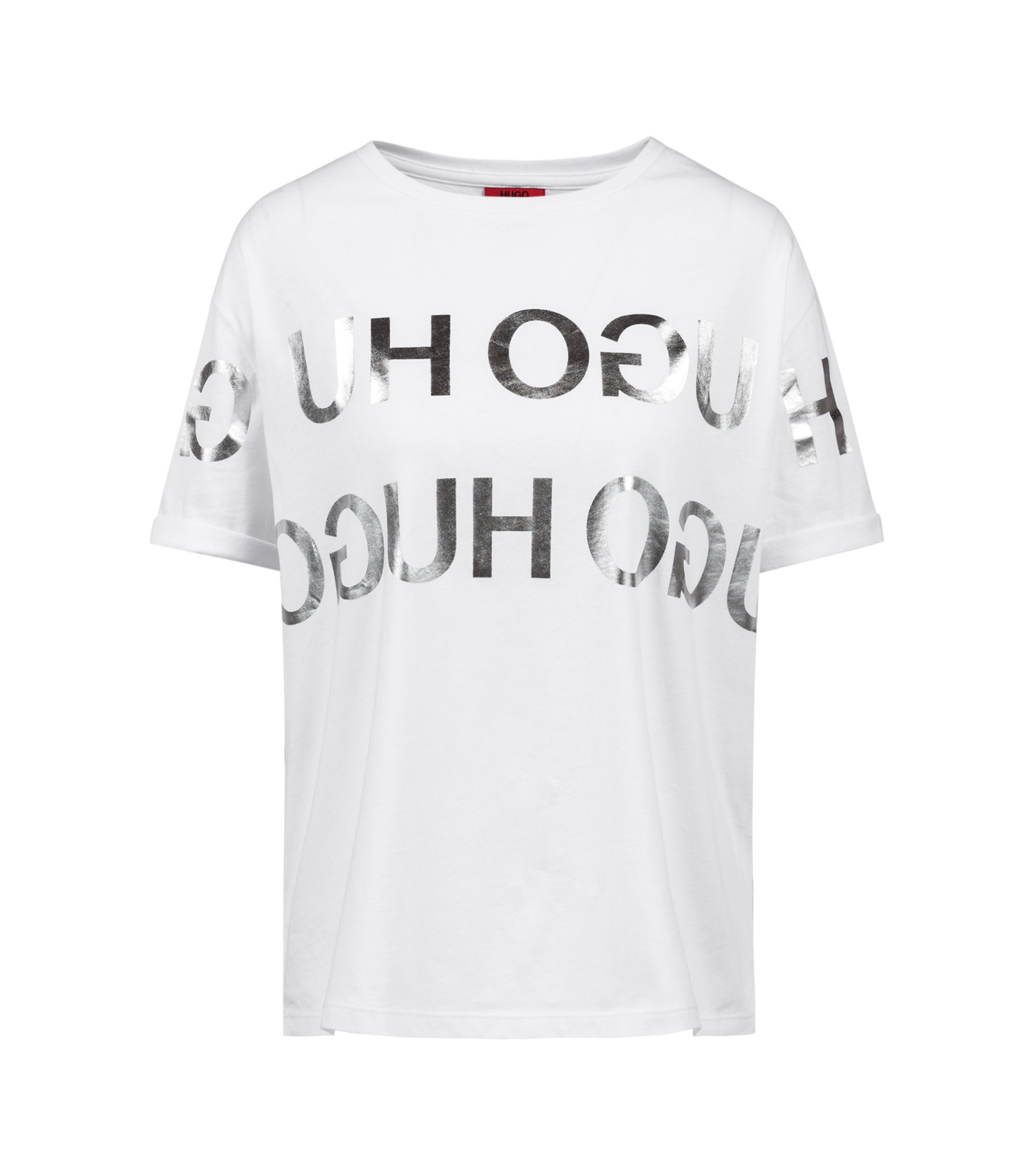 Relaxed-fit T-shirt with foil reverse-logo print, Patterned