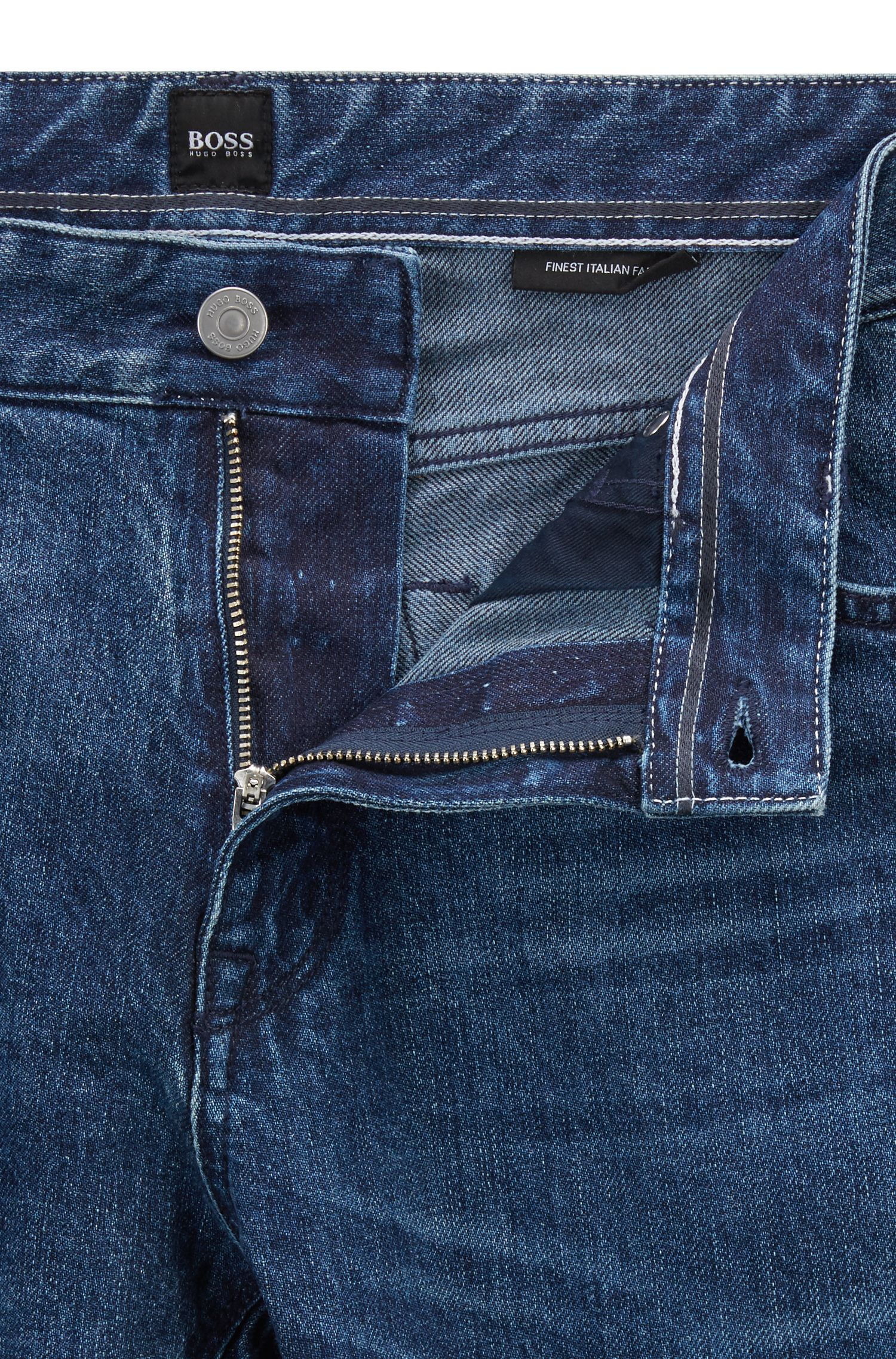 Vaqueros regular fit en denim de algodón reciclado italiano, Azul