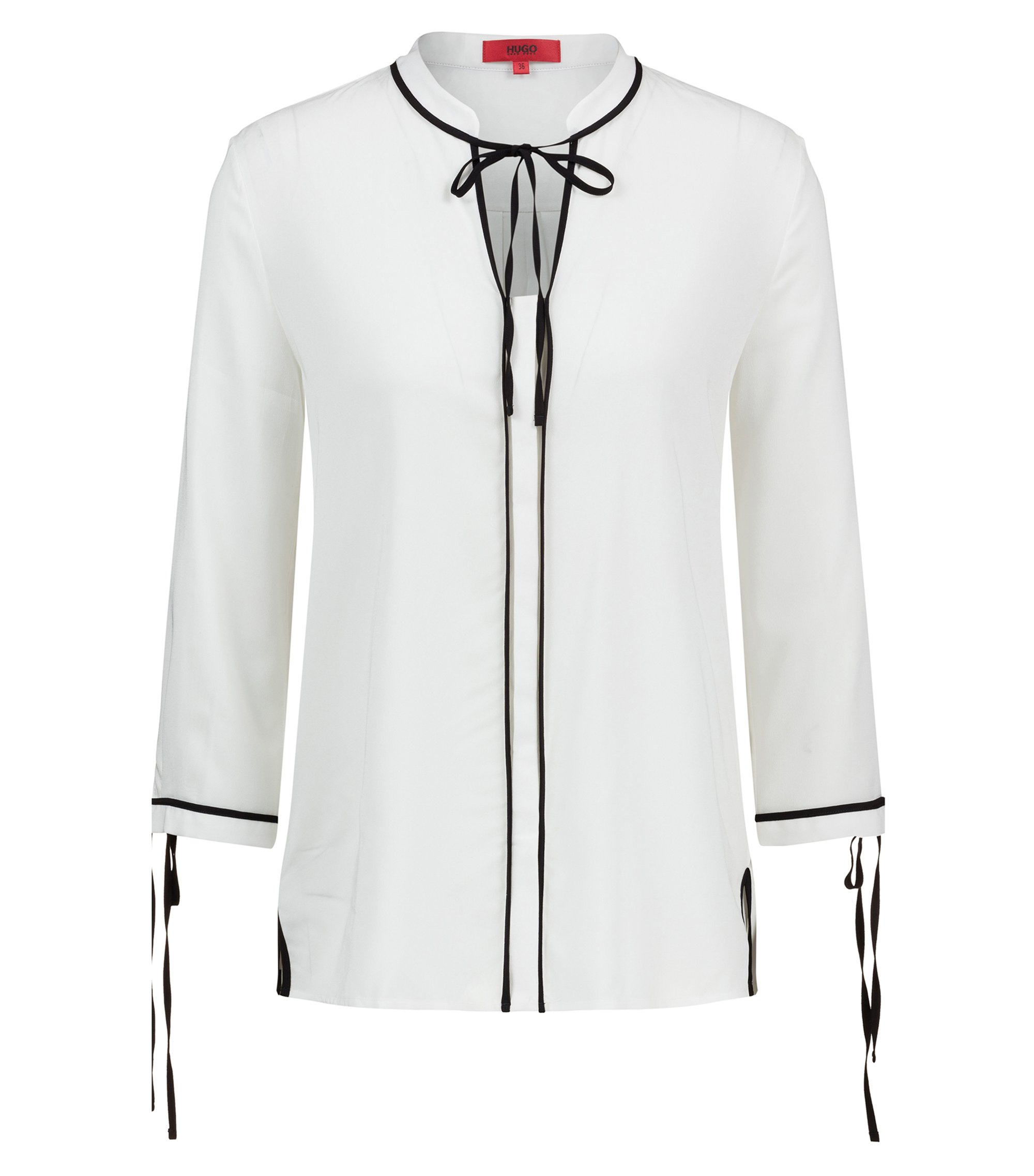 Regular-Fit Bluse mit Schleifen und kontrastfarbenen Paspeln, Natur