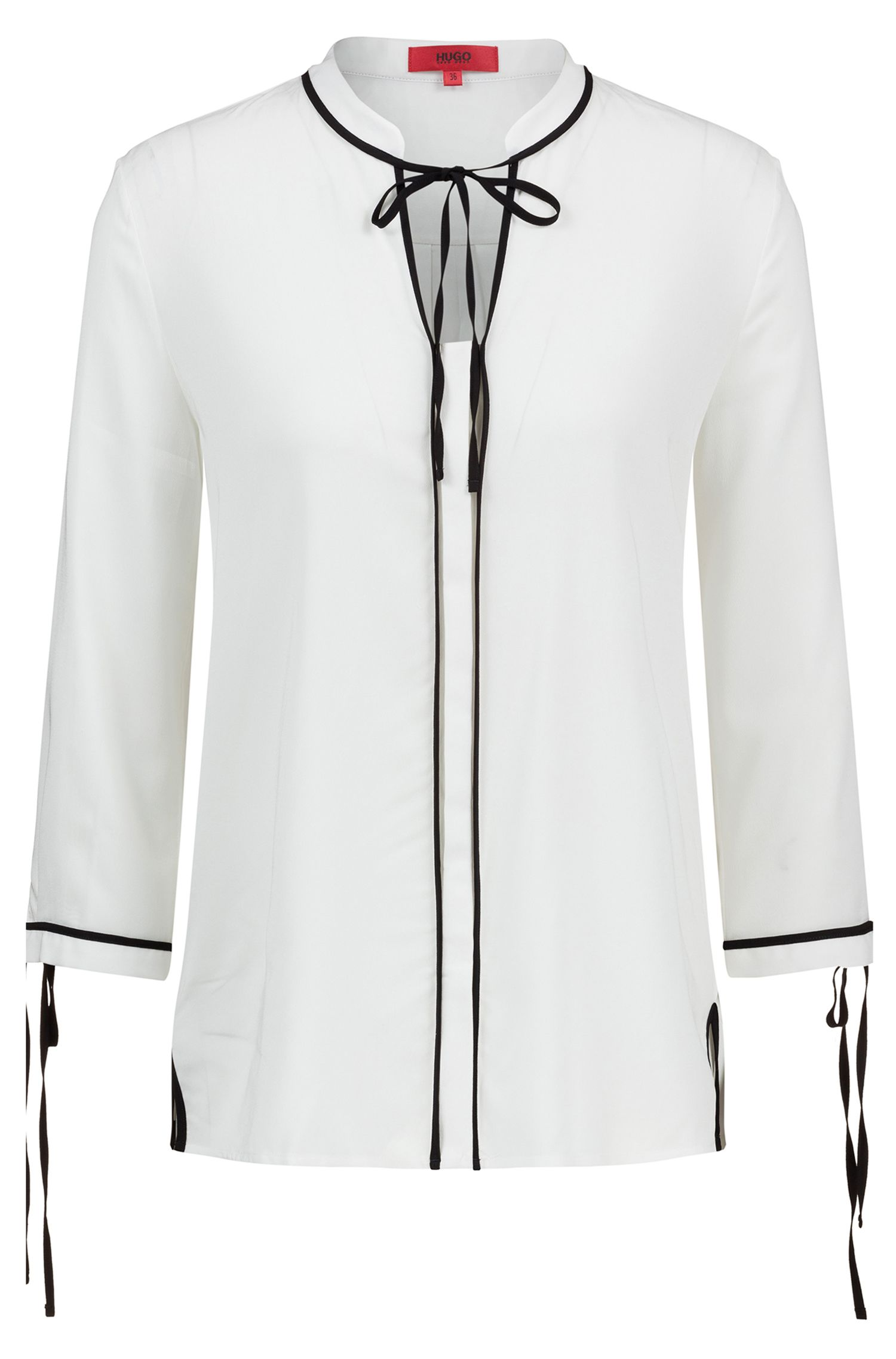 Long-sleeved blouse with bow closure and contrast piping, Natural