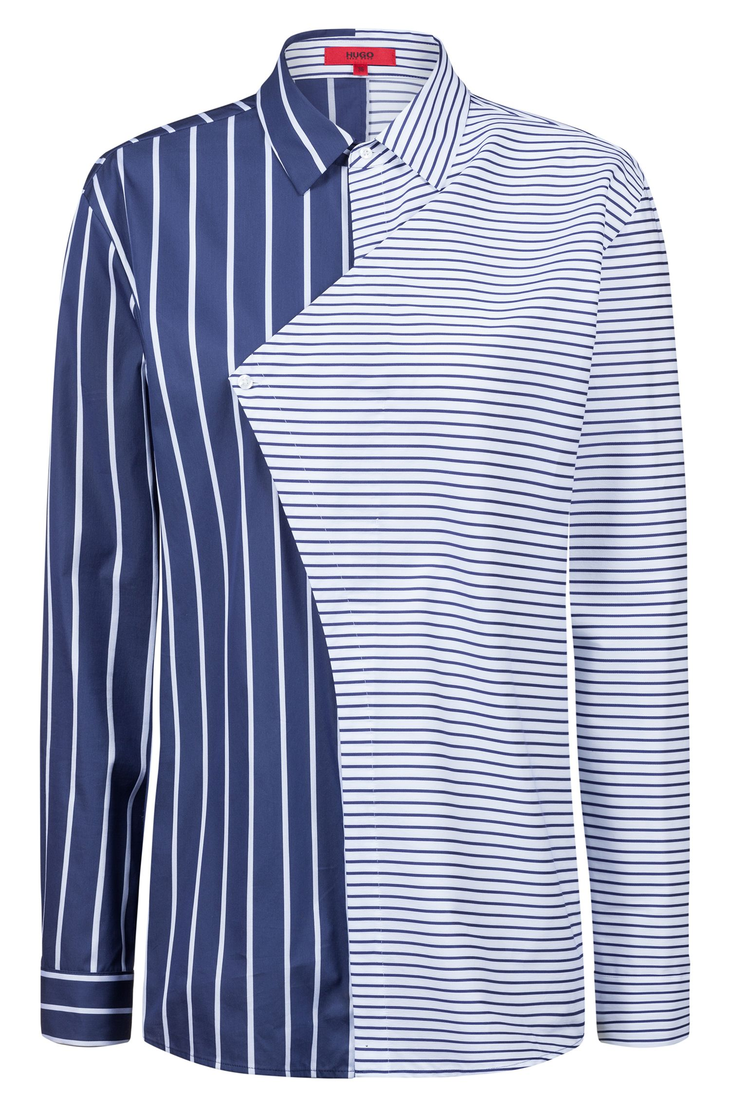 Relaxed-fit striped blouse with asymmetric overlapped front panel, Patterned