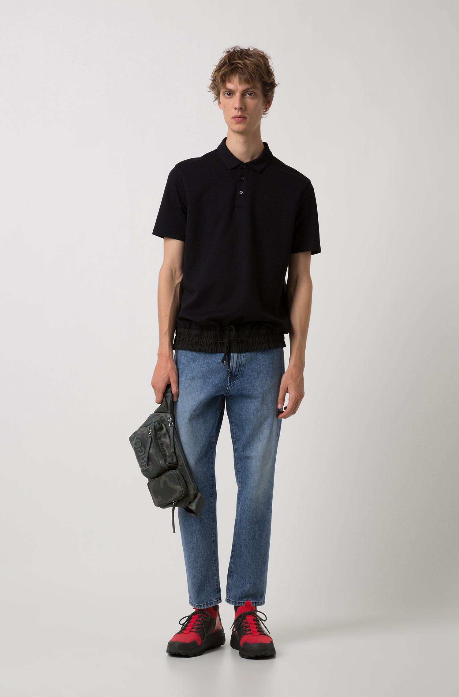 Polo Relaxed Fit avec taille à cordon de serrage, Noir
