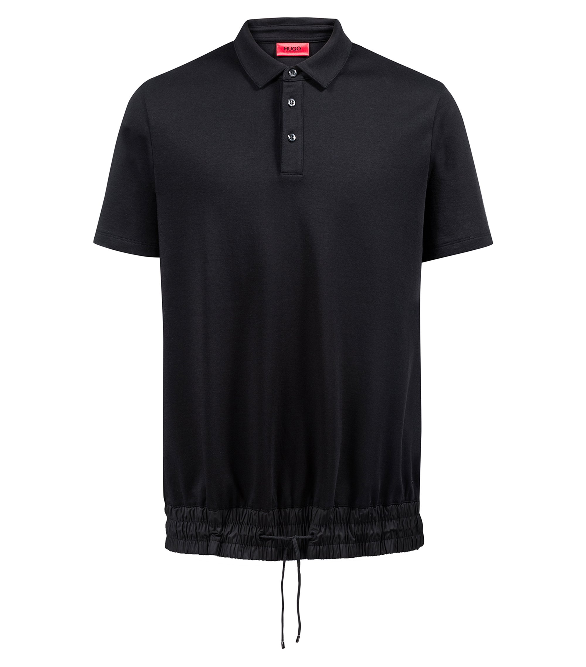 Relaxed-fit polo shirt with drawstring waist, Black