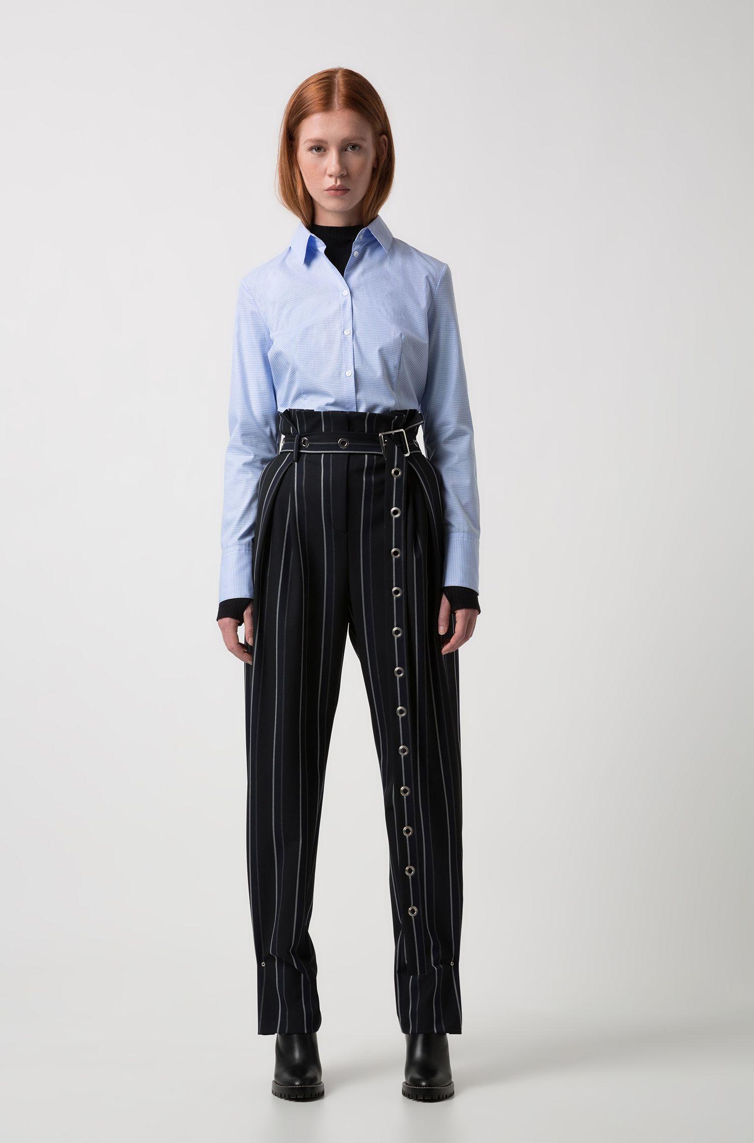 Slim-fit blouse van katoen met een micro-pied-de-poule jacquard, Lichtblauw