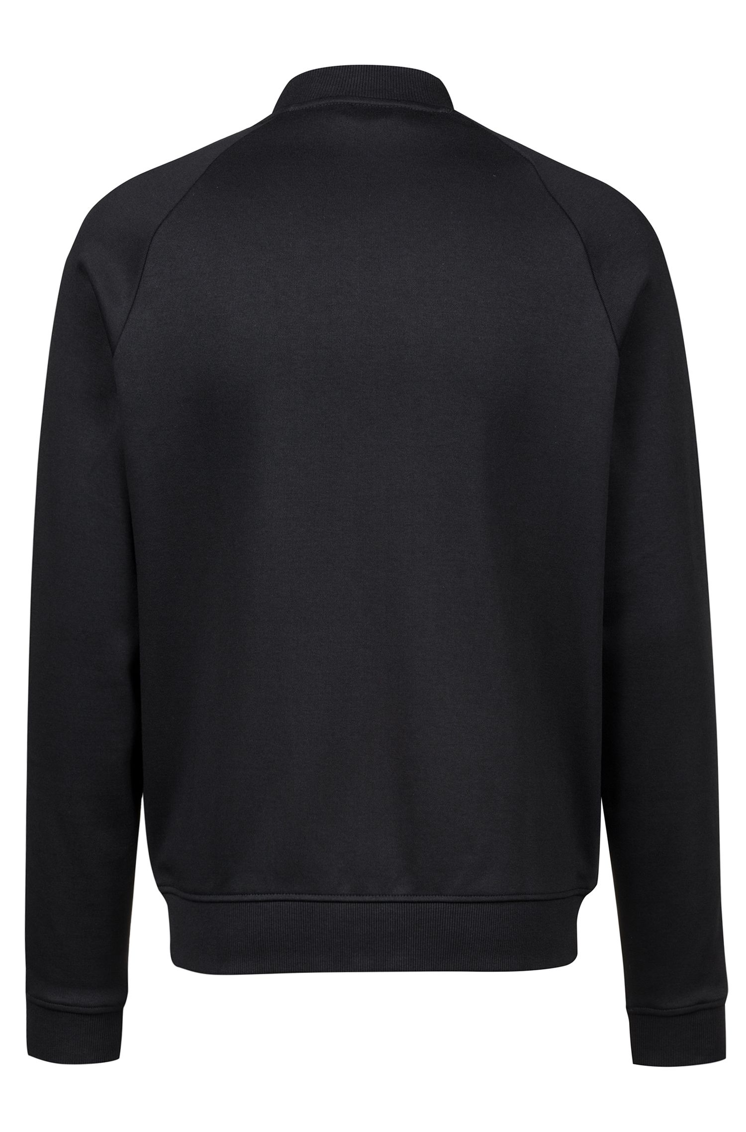Bomber jacket in interlock cotton with logo-tape sleeves, Black
