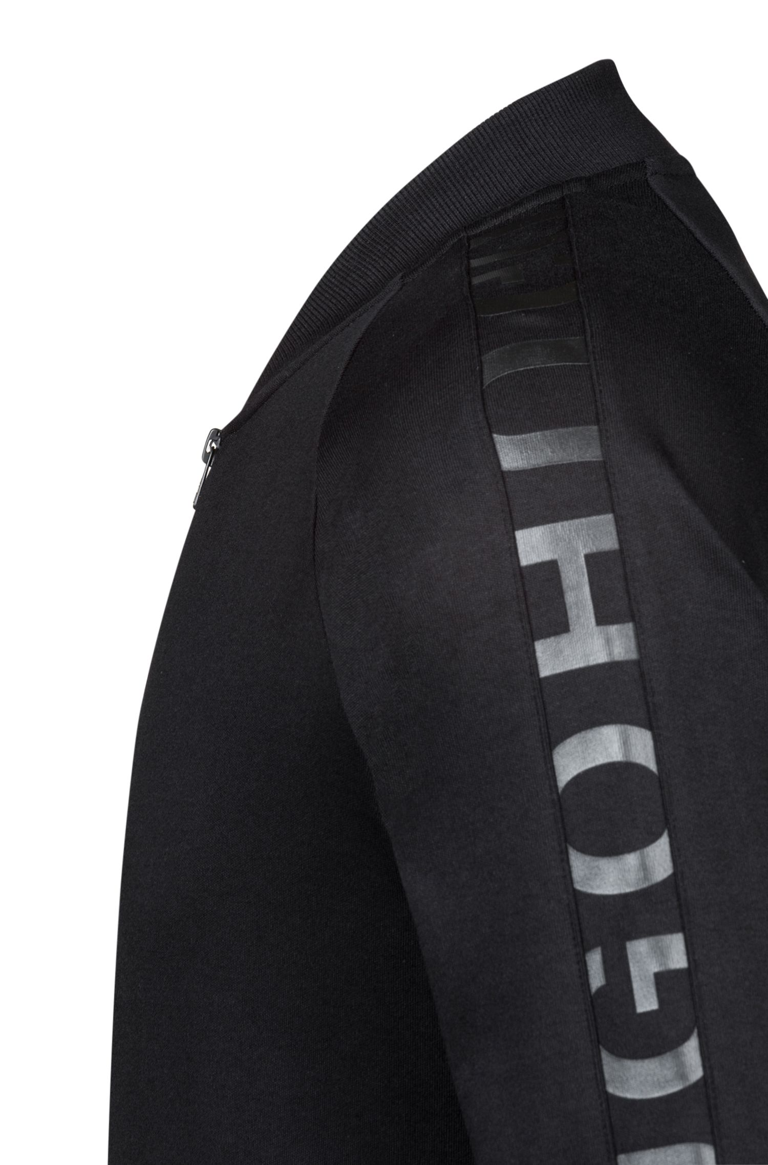 Bomber jacket in interlock cotton with logo-tape sleeves