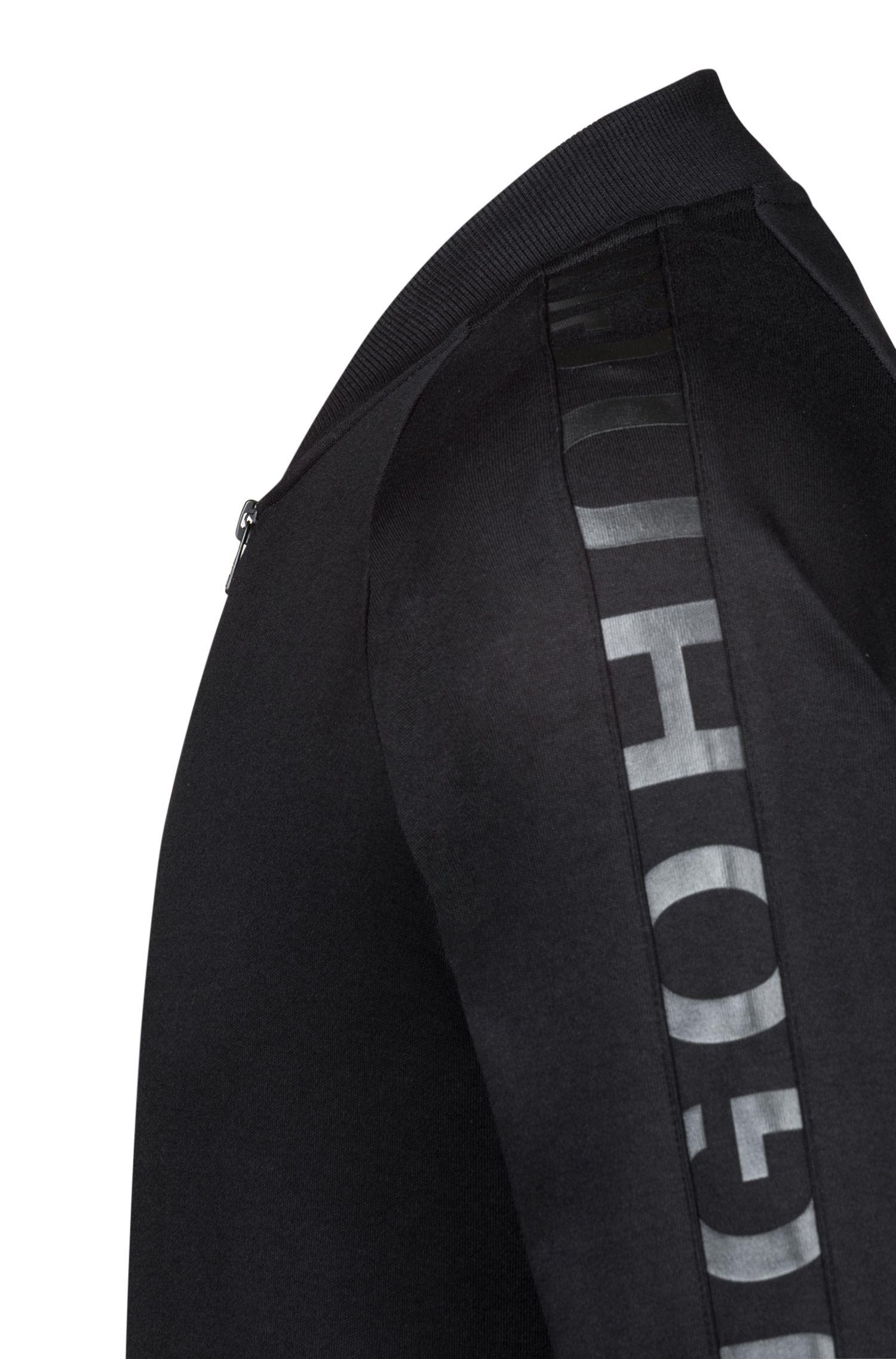 Bomberjacke aus Baumwolle mit Logo-Tape an den Ärmeln, Schwarz