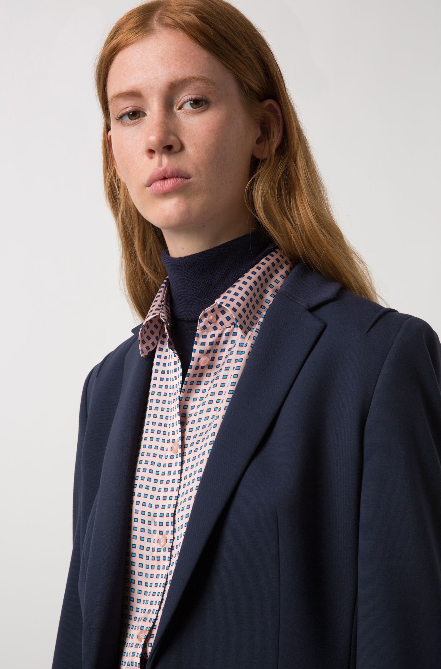 Regular-fit blouse with three-tone mini squares print, Patterned