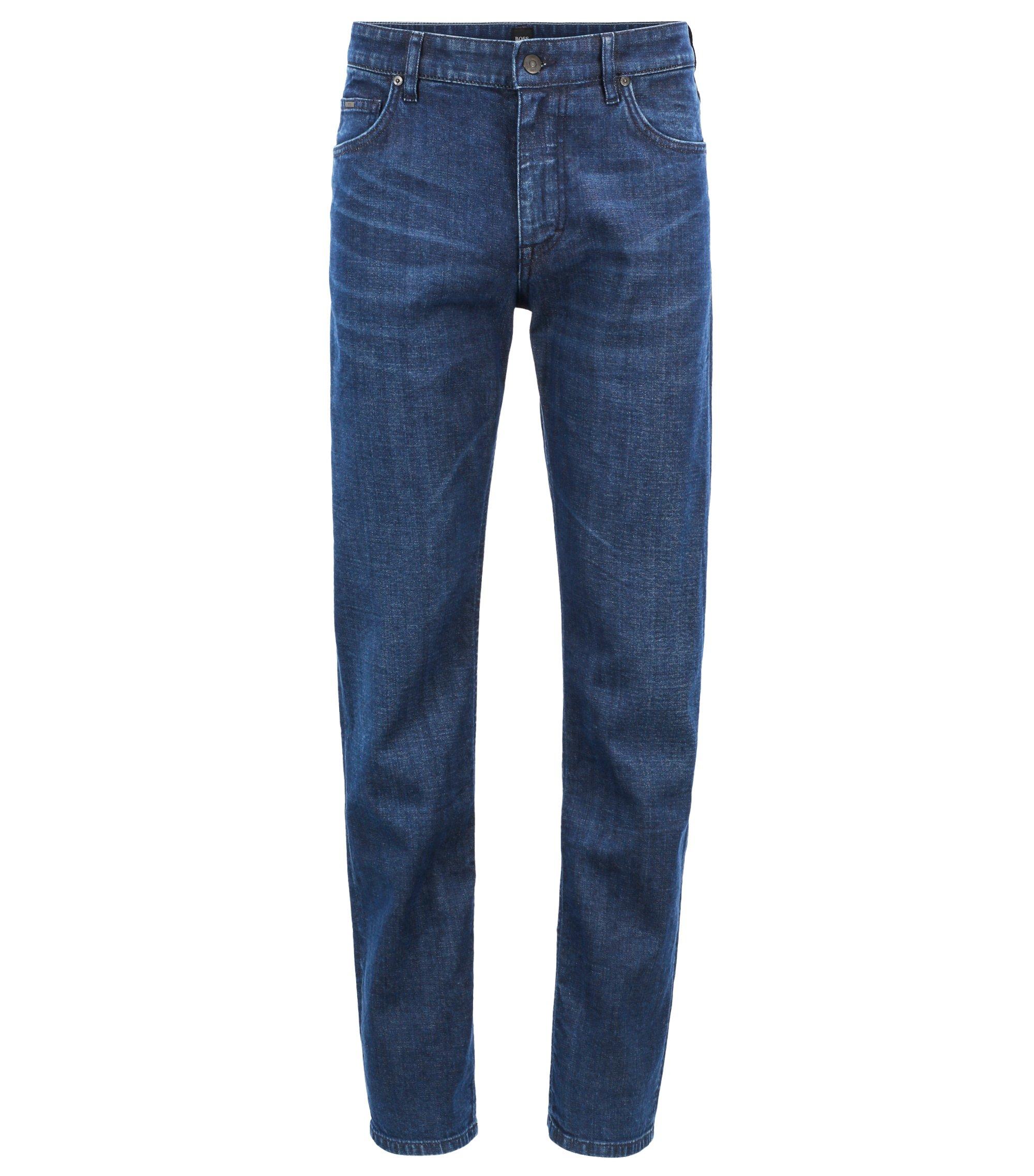 Relaxed-fit jeans van Italiaans stretchdenim in een linkse twill, Donkerblauw