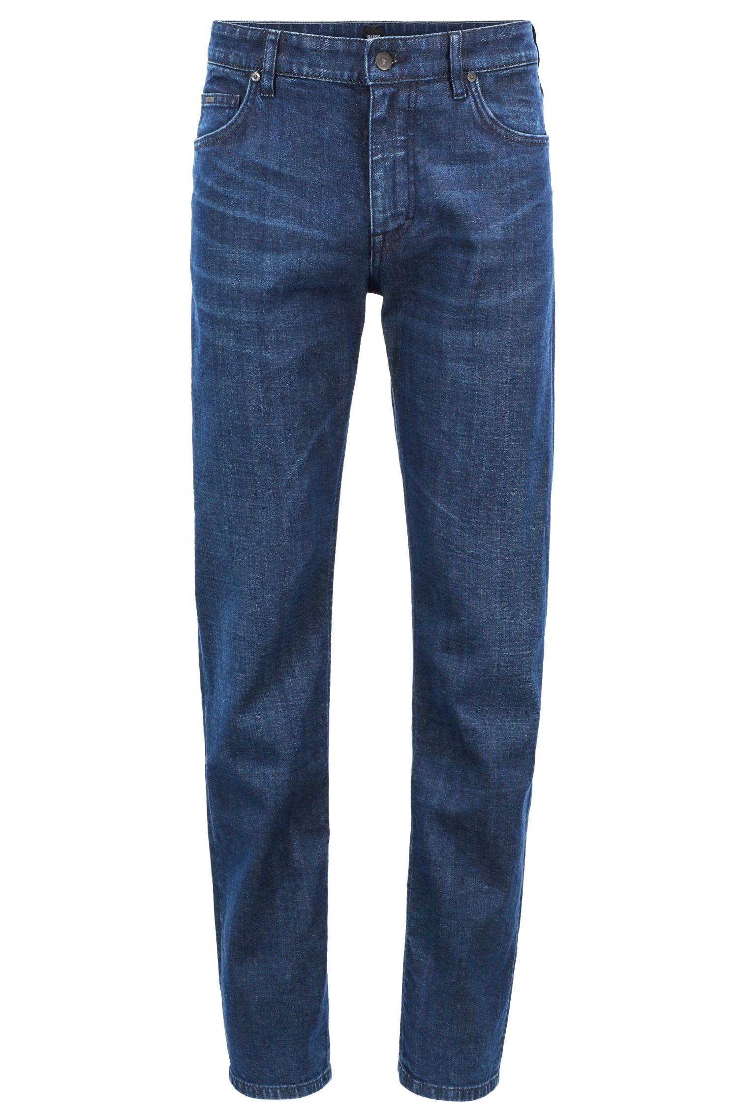 Jean Relaxed Fit en denim italien stretch au tissage gaucher, Bleu foncé
