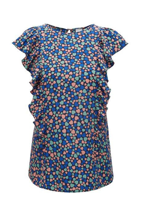 Slim-fit printed-silk blouse with ruching details, Patterned