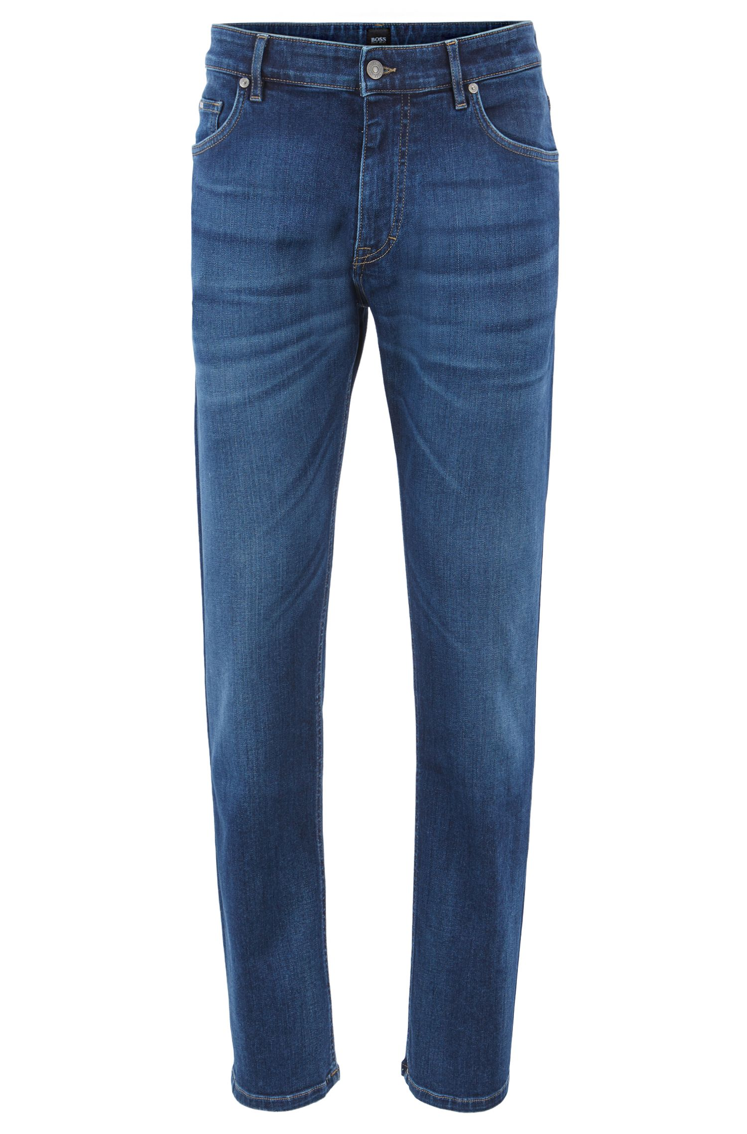 Vaqueros relaxed fit en denim elástico italiano azul brillante, Azul
