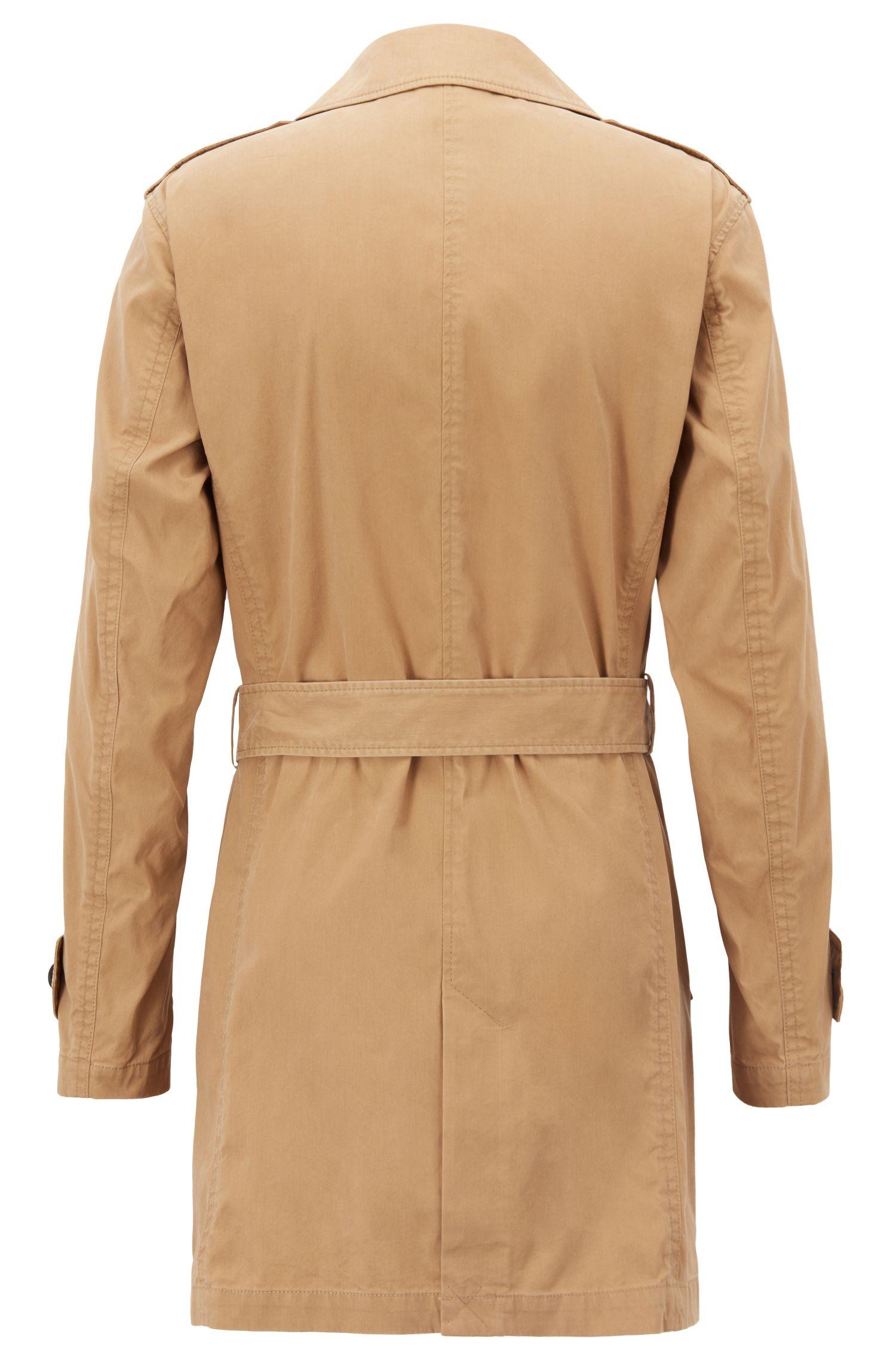Trench-coat Regular Fit en coton mélangé ciré, Beige