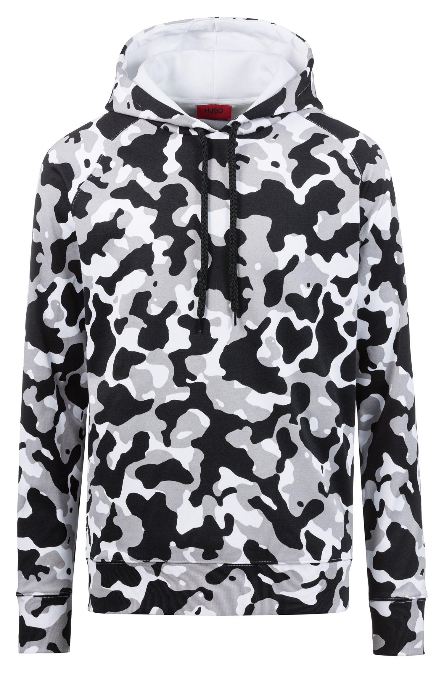 Oversized Kapuzen-Sweatshirt aus Baumwolle mit Camouflage-Print, Gemustert