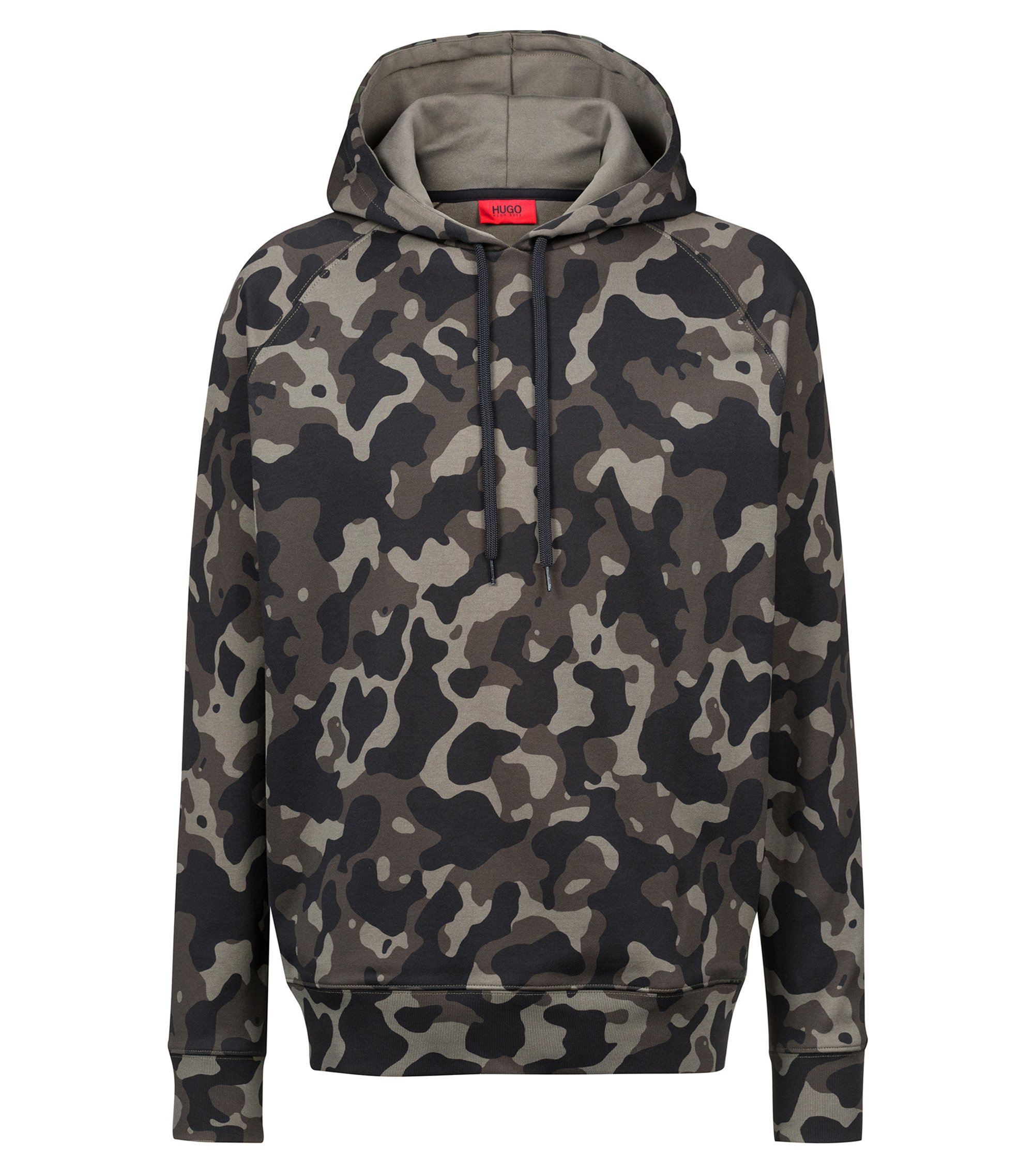 Oversized-fit hooded sweatshirt in camouflage-print cotton, Patterned