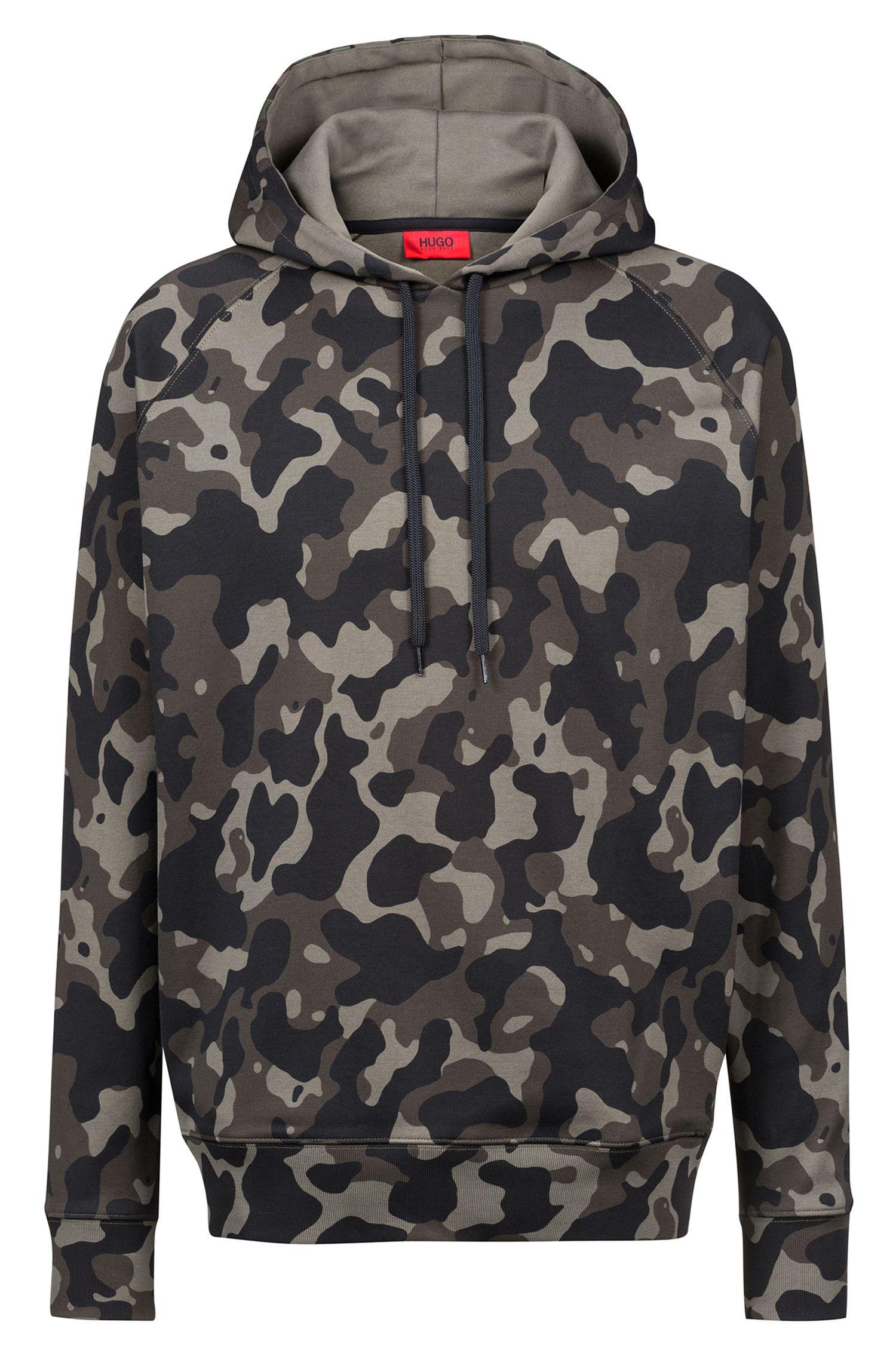 Sweat à capuche Oversized Fit en coton, à imprimé camouflage, Fantaisie