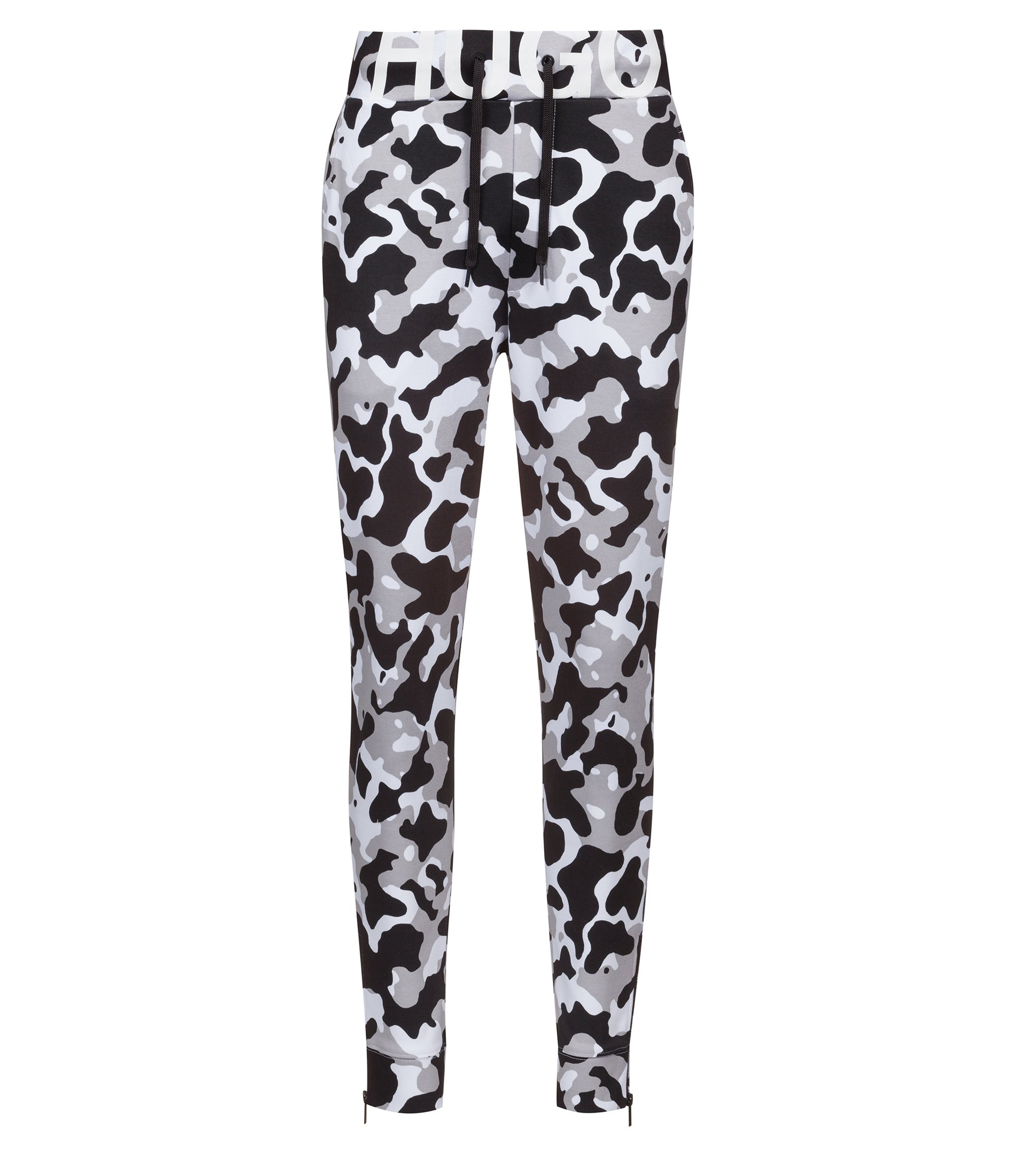 Jersey trousers in camouflage-print interlock cotton, Patterned