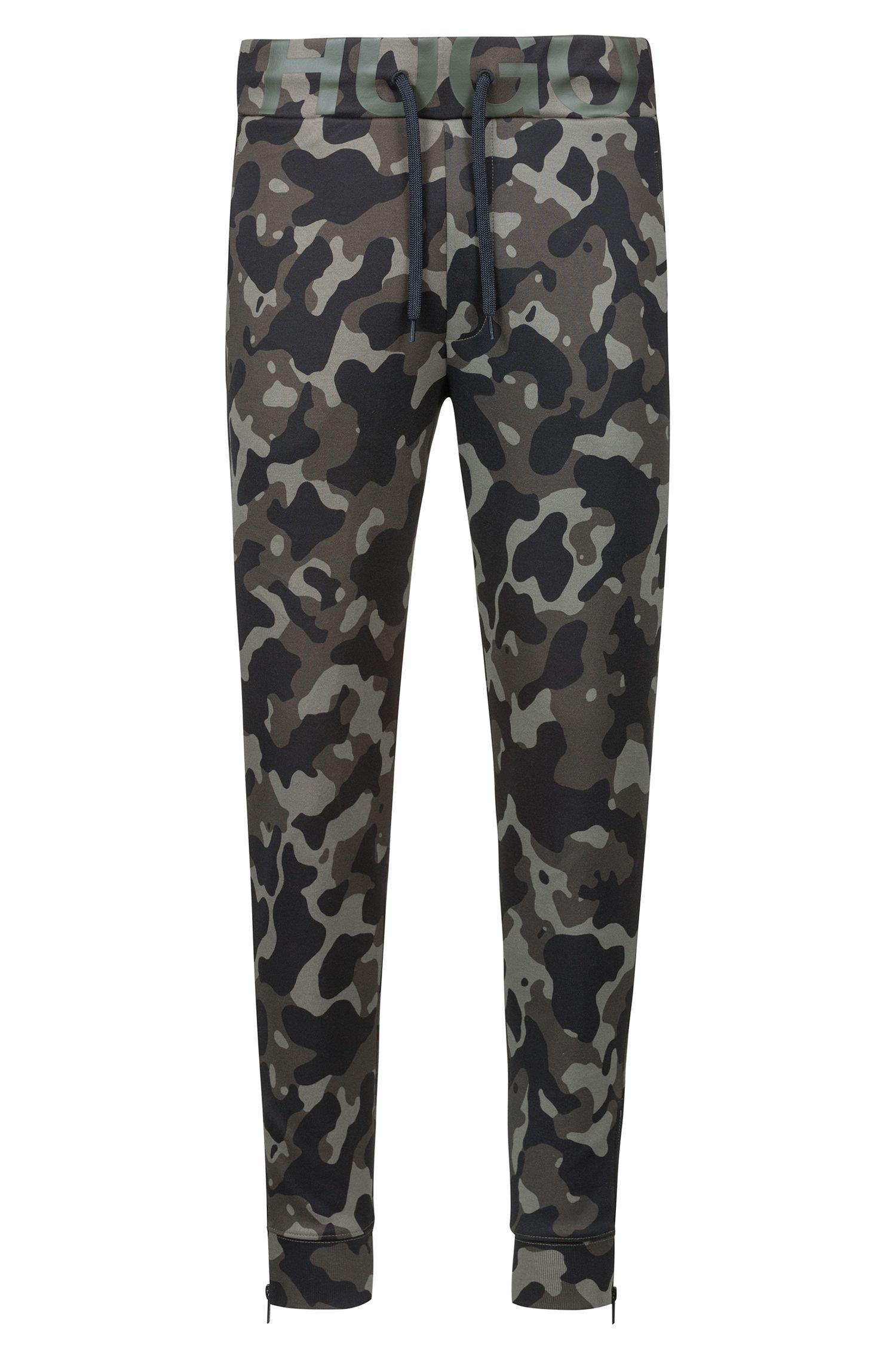 Jersey broek van dubbelgebreide katoen met camouflageprint, Bedrukt