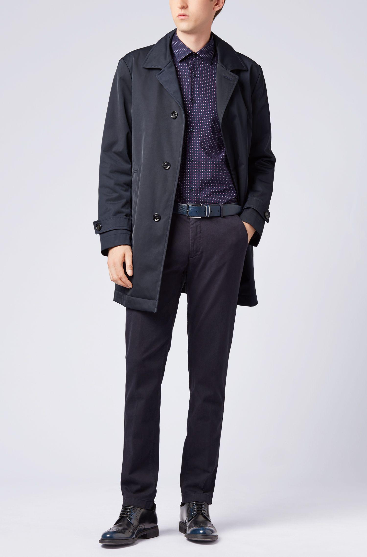Camisa slim fit de algodón italiano con estampado geométrico, Azul oscuro