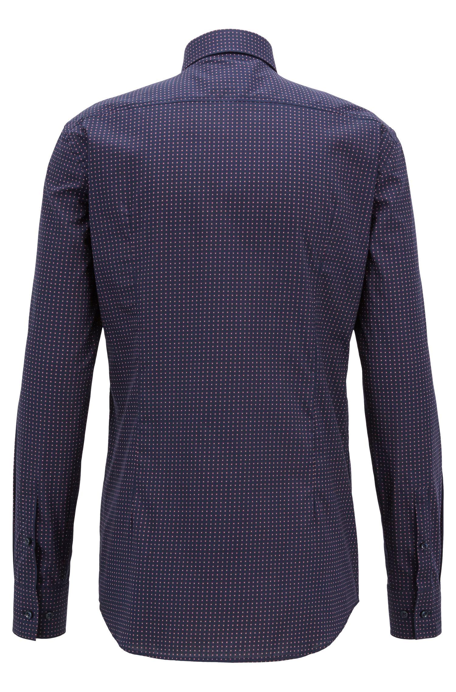 Slim-fit shirt in geometric-print Italian cotton, Dark Blue